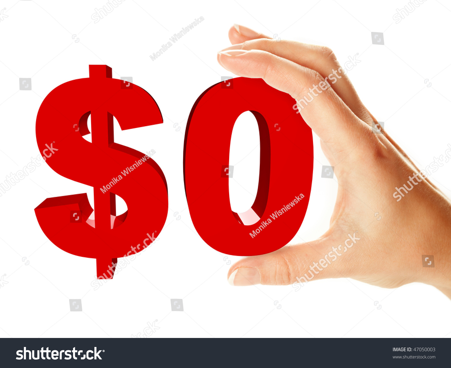 Zero Dollar Sign Holding By Female Hand Isolated Over