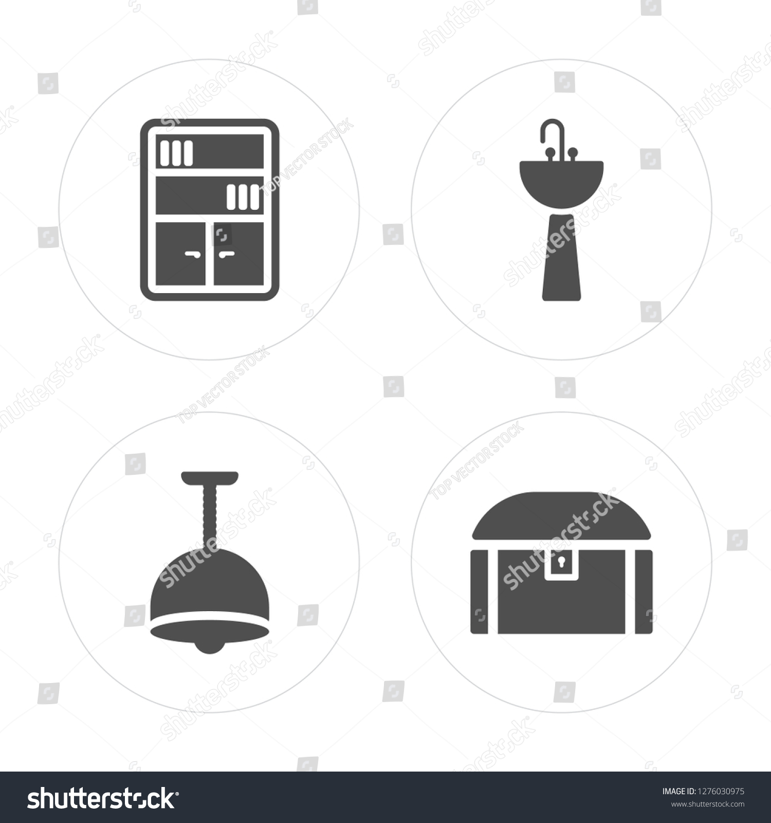 4 Bookcase Lamp Sink Chest Modern Stock Vector Royalty Free