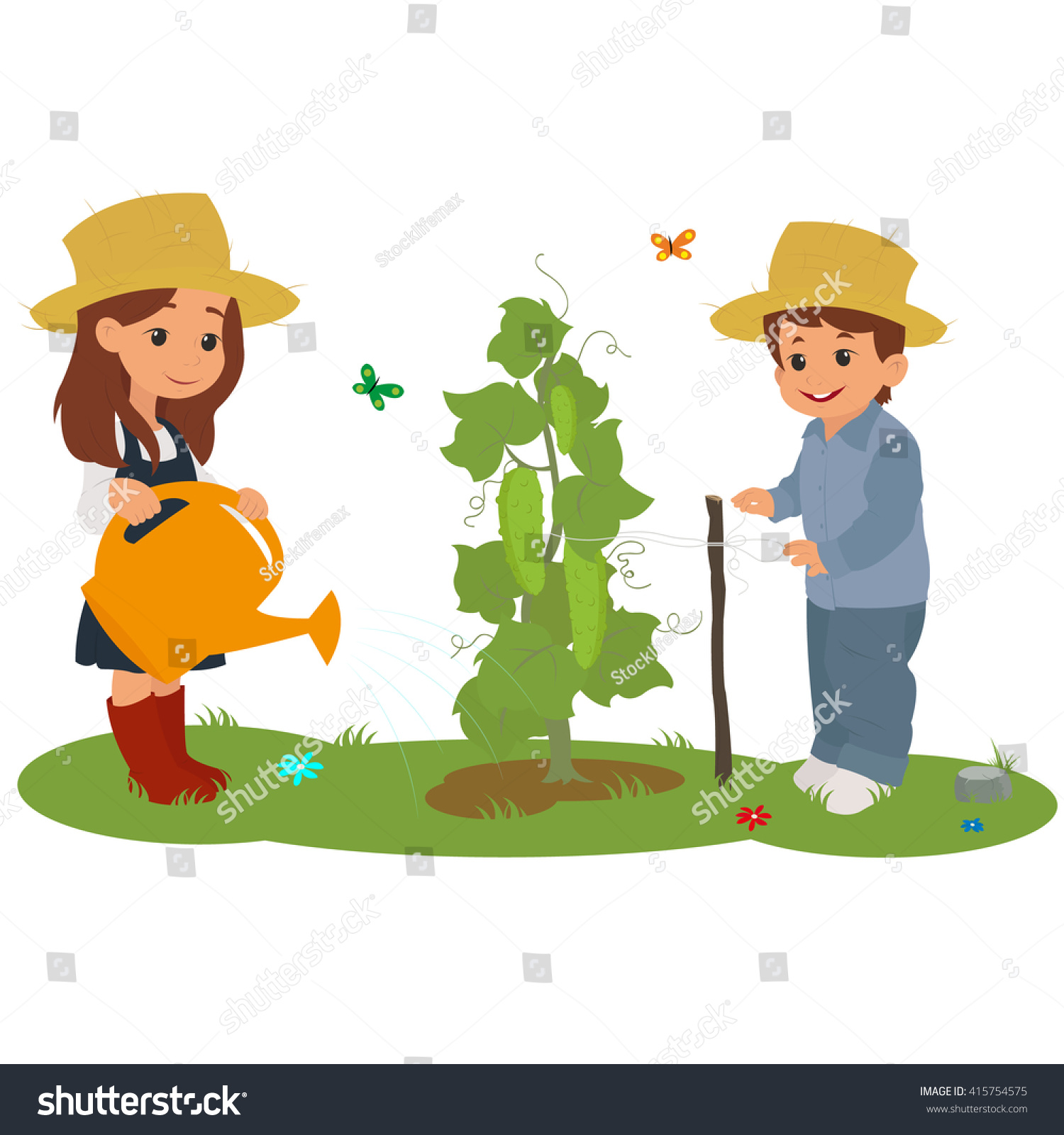 Children On Farm Care Plants Vector Stock Vector