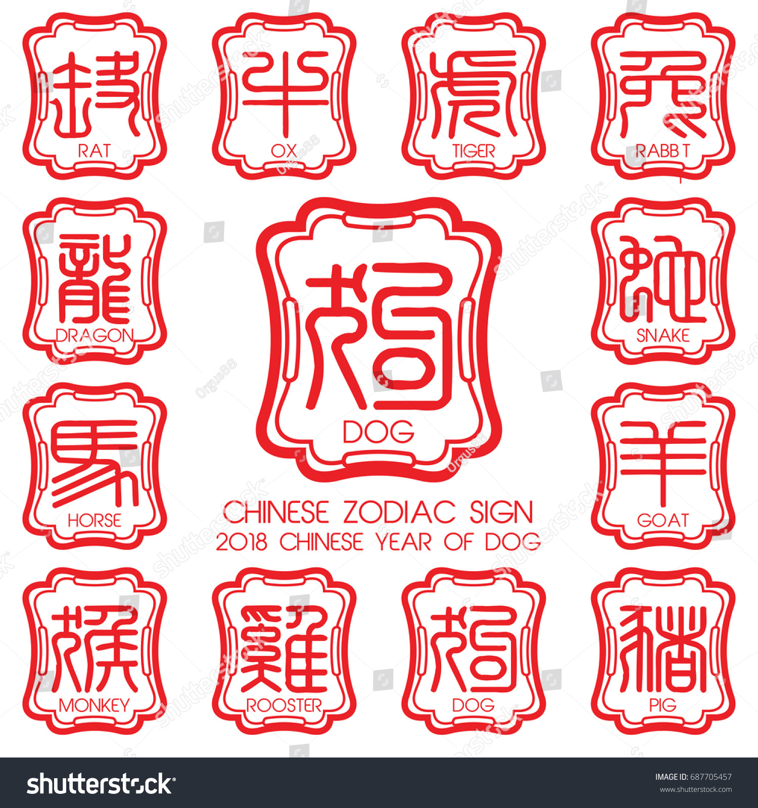 12 Chinese Zodiac Symbols Year Stock Vector