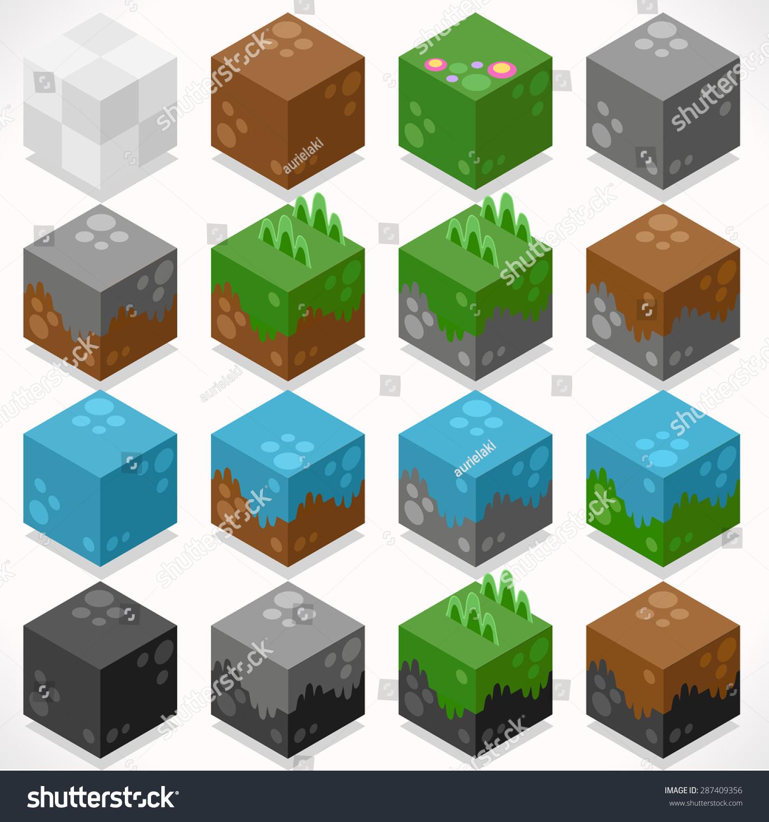 3d Flat Isometric Craft Cubes Modular Stock Vector