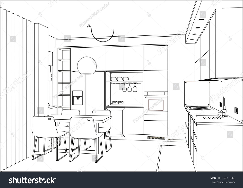 3 d vector sketch modern kitchen design stock-vektorgrafik