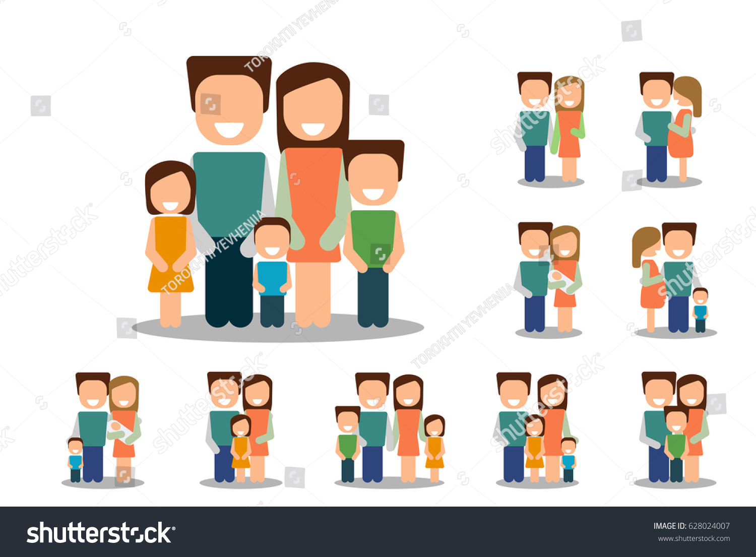 Different Types Families Set Vector Stock Vector
