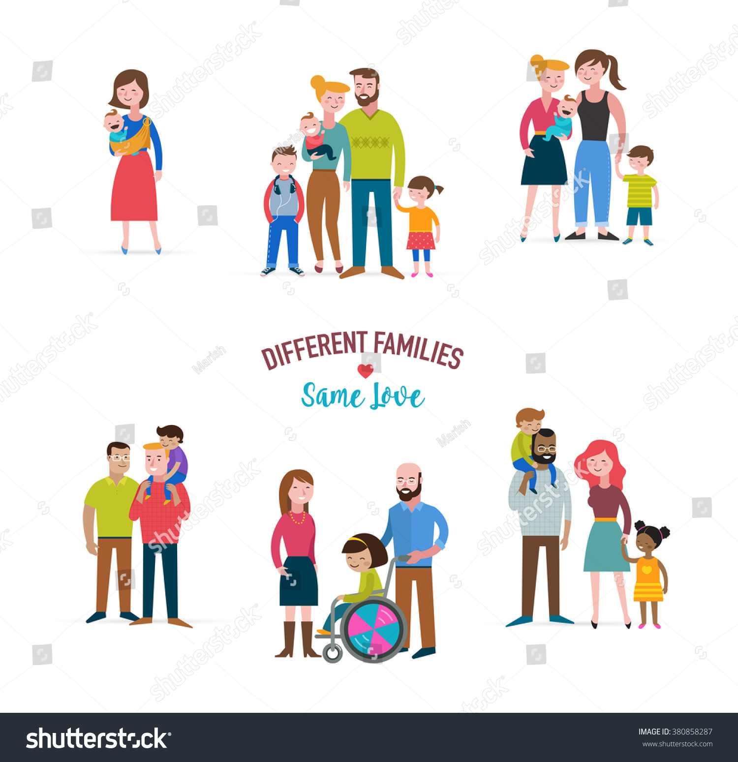 Family Different Kind Families Special Stock Vector