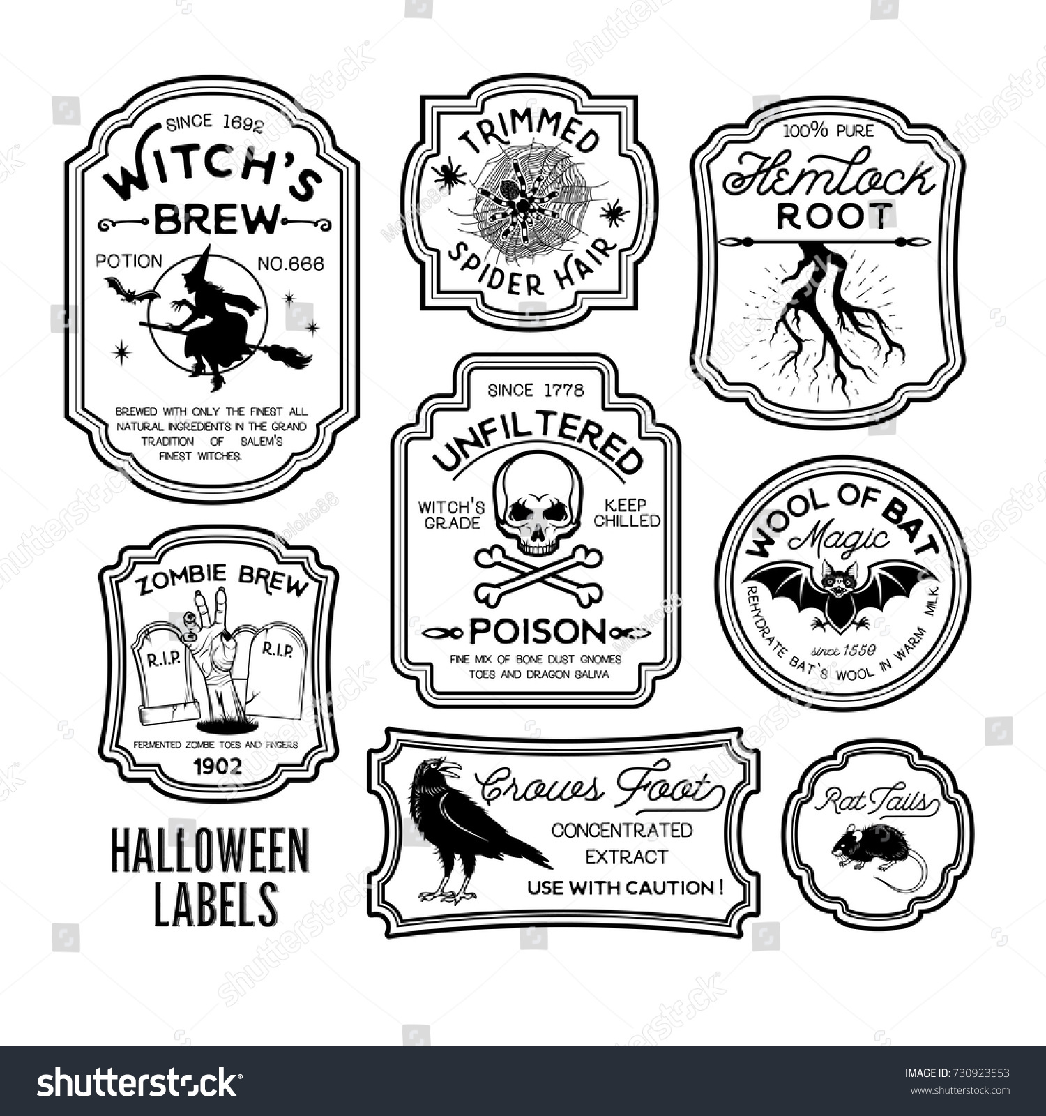 Halloween Bottle Labels Potion Labels Vector Stock Vector