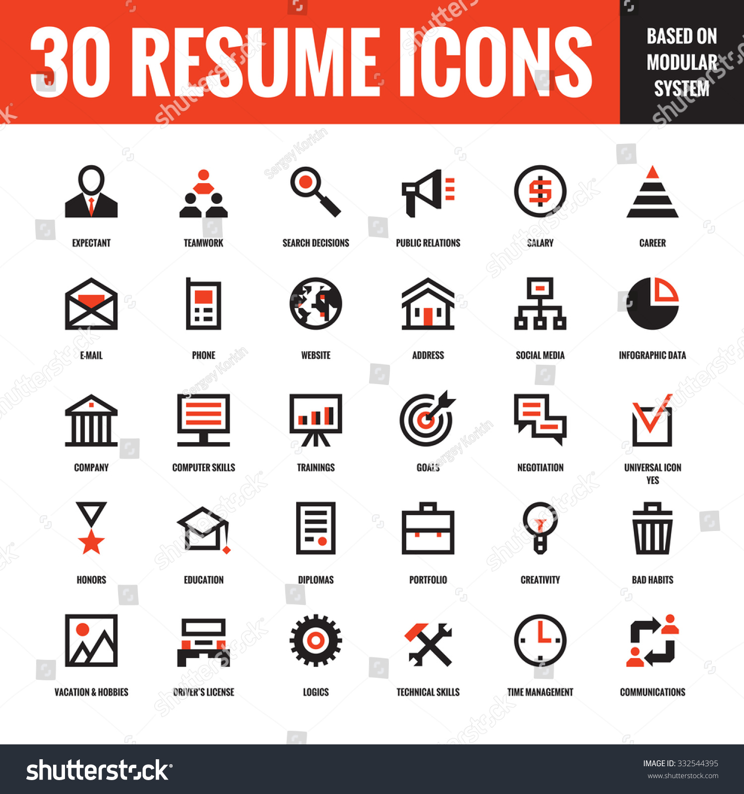 30 resume creative vector icons based on modular system set of