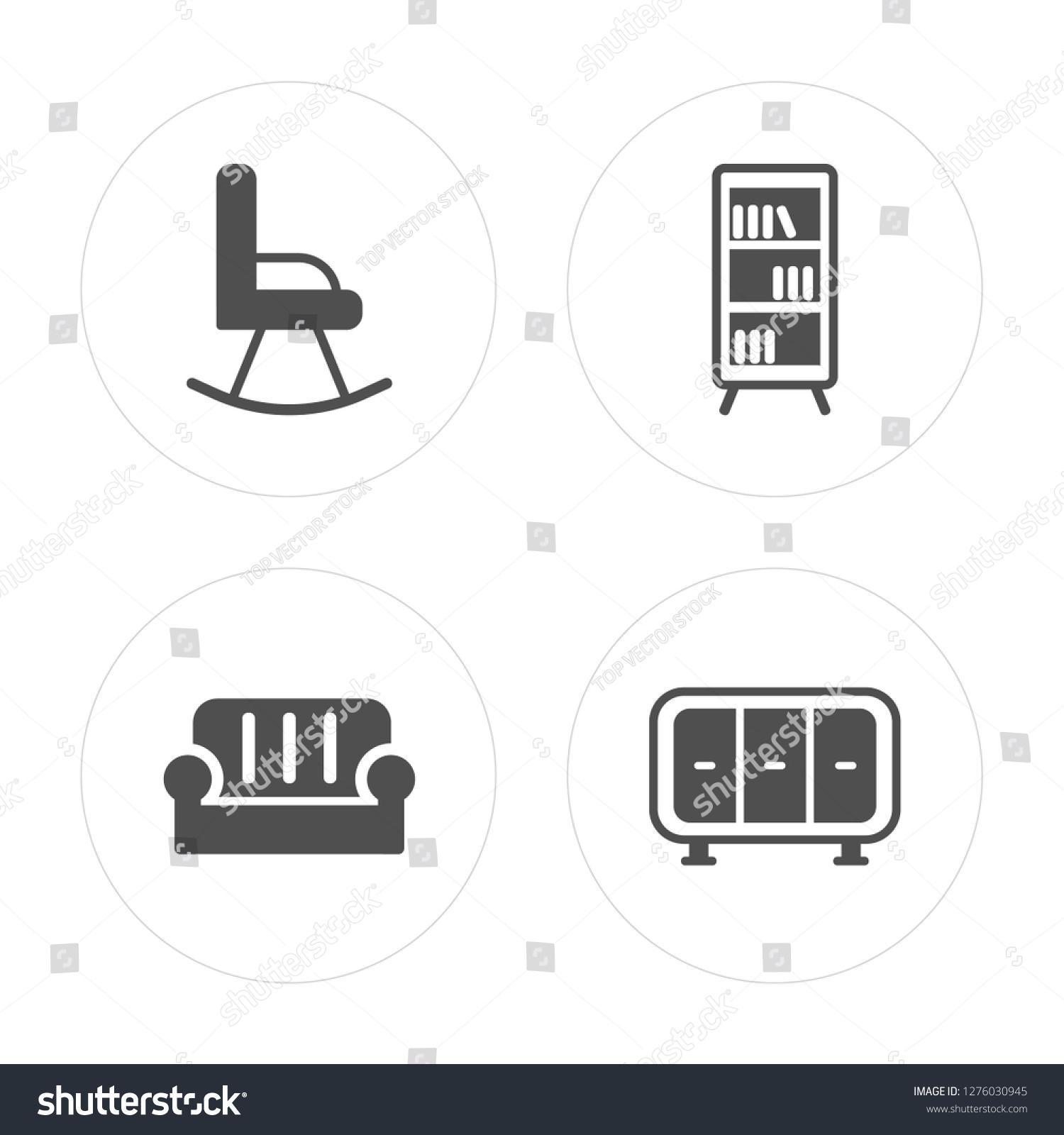 4 Rocking Chair Sofa Bookcase Wardrobe Stock Vector Royalty