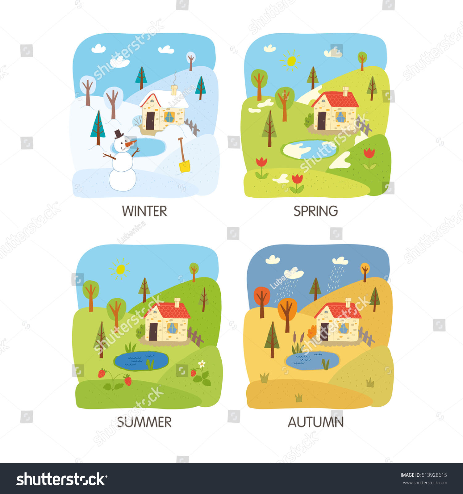 4 Seasons Landscape Winter Spring Summer Stock Vector