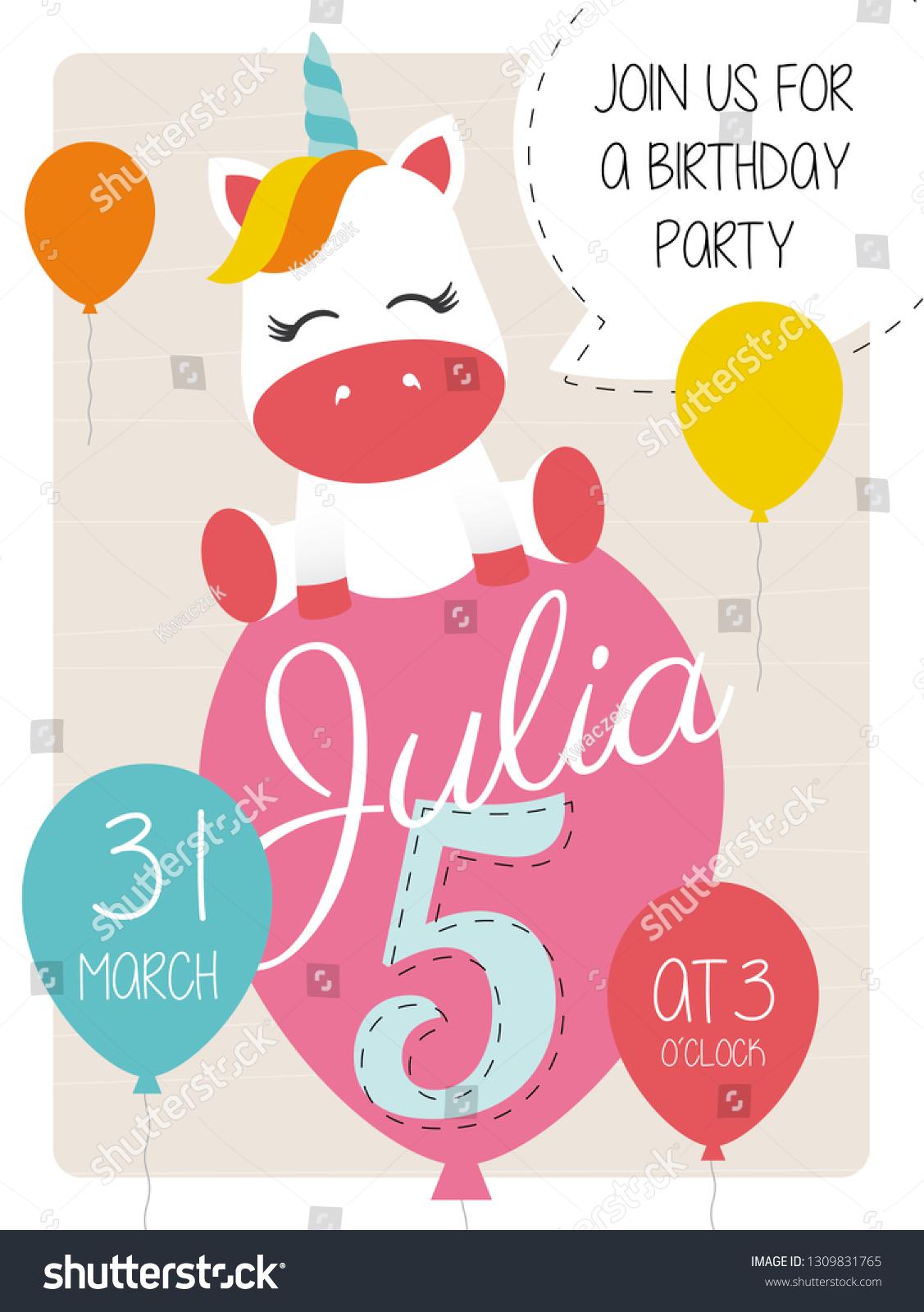 https www shutterstock com image vector 5th birthday party invitation card unicorn 1309831765