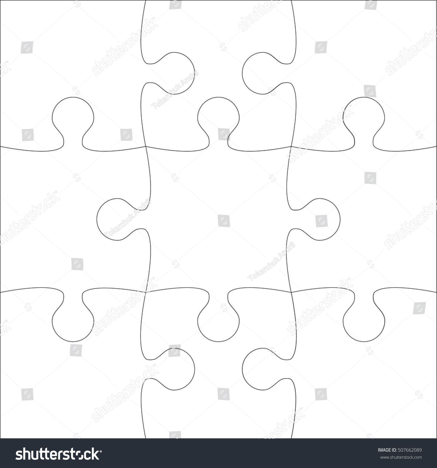 9 White Puzzles Pieces Arranged Square Stock Vector