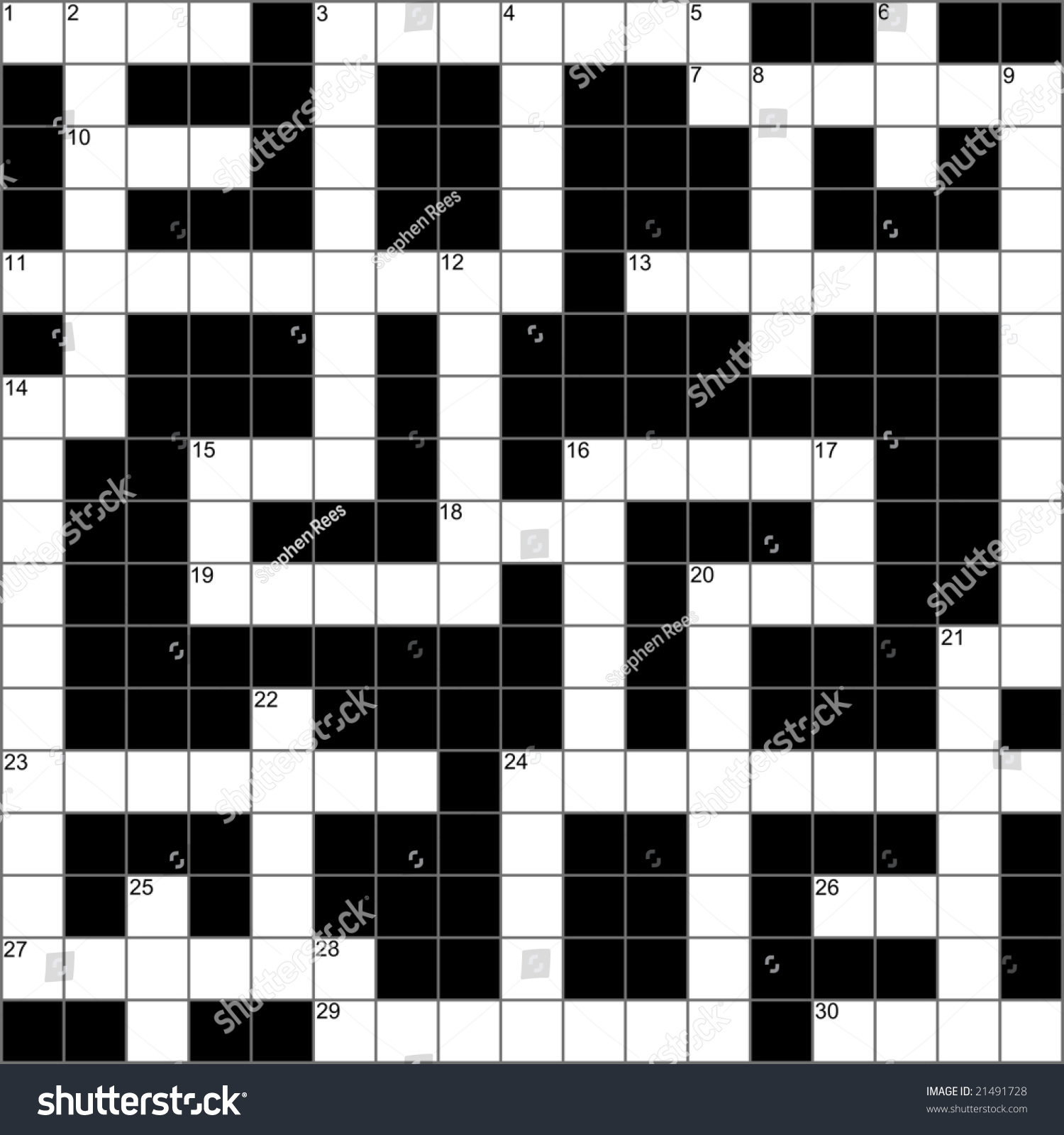 Blank Symmetrical Crossword Puzzle Vector Stock Hd Royalty