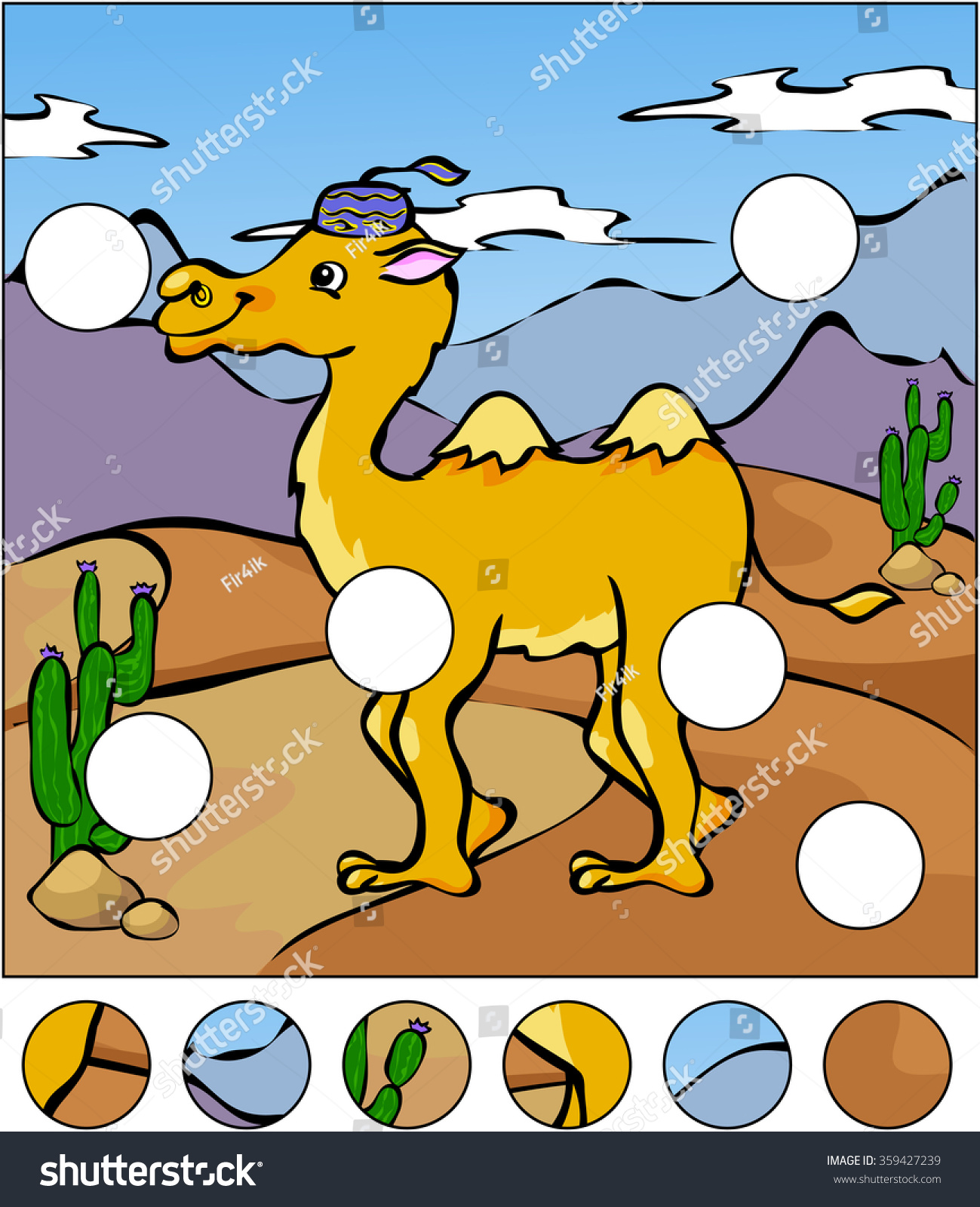 Camel Desert Complete Puzzle Find Missing Stock Vector