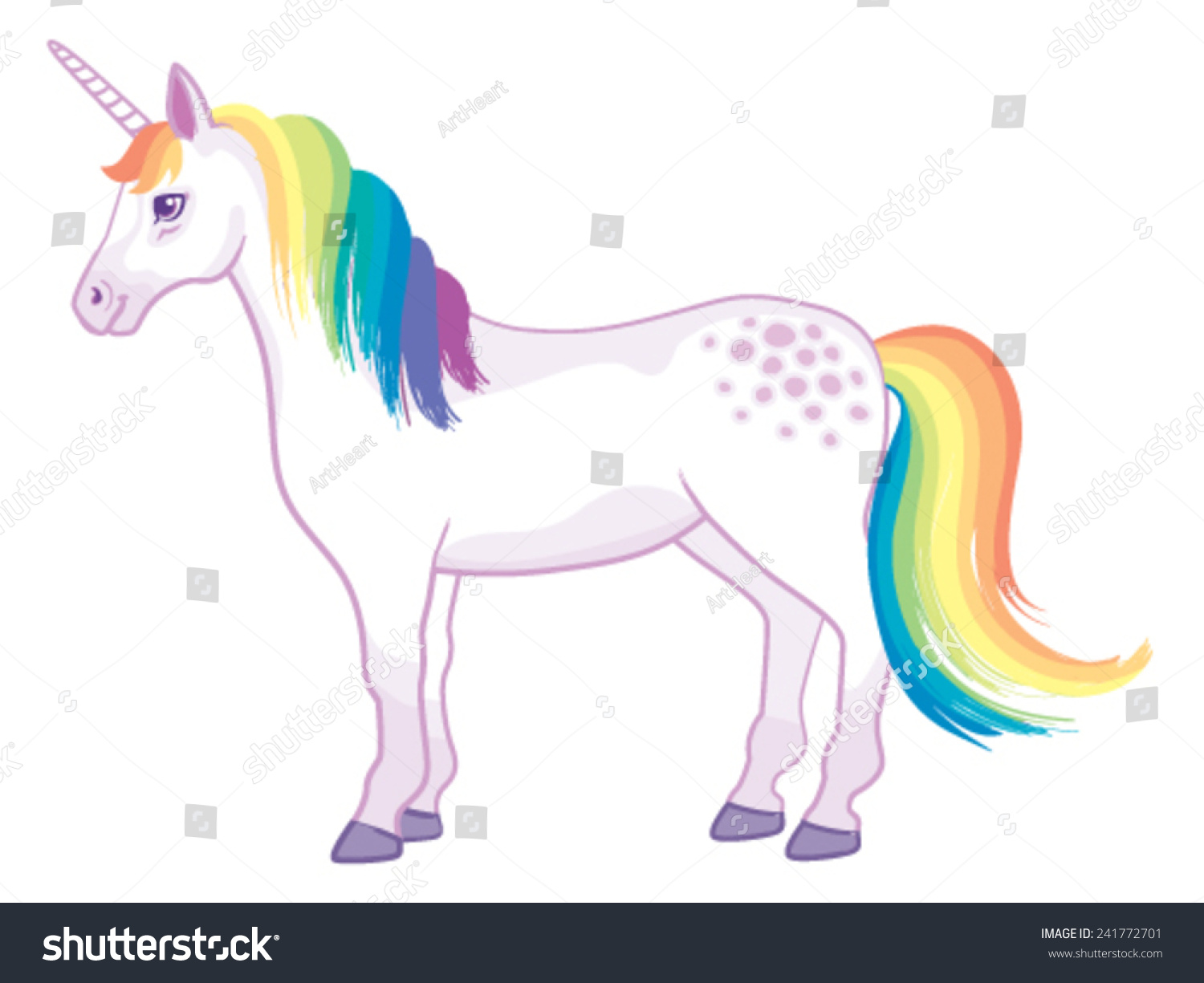 a cartoon unicorn with rainbow mane and tail standing still stock