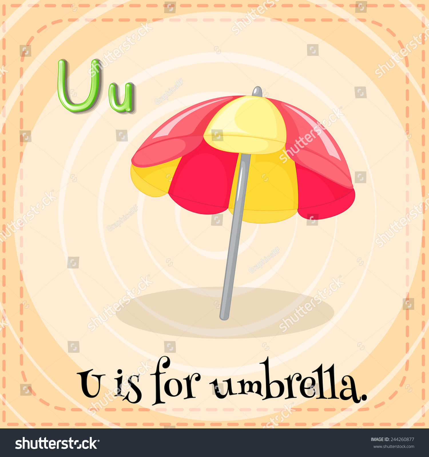 A Letter U For Umbrella Stock Vector Shutterstock