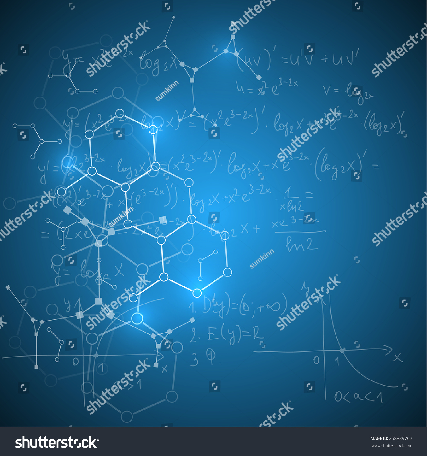 Abstract Background Mathematical Formulas Calculations Graphs Stock Vector