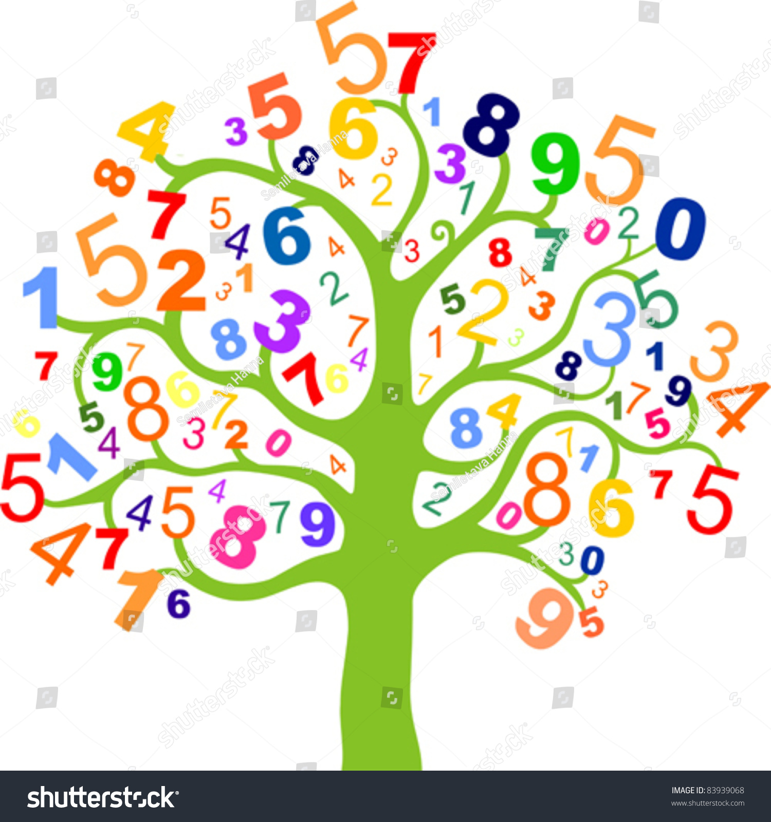 Abstract Colorful Tree Numbers Isolated On Stock Vector