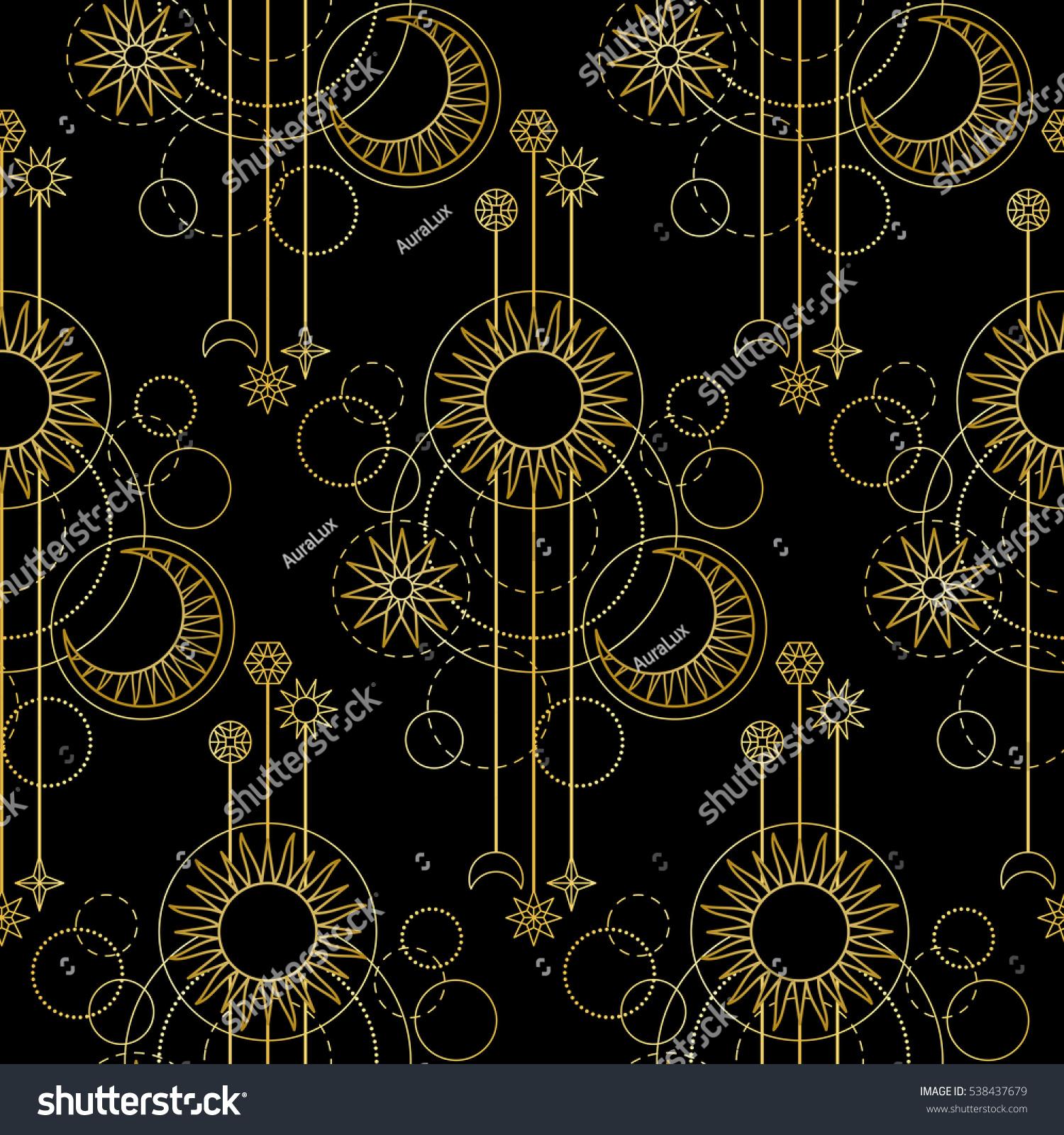 Abstract Seamless Pattern Gold Sun Moon Stock Vector