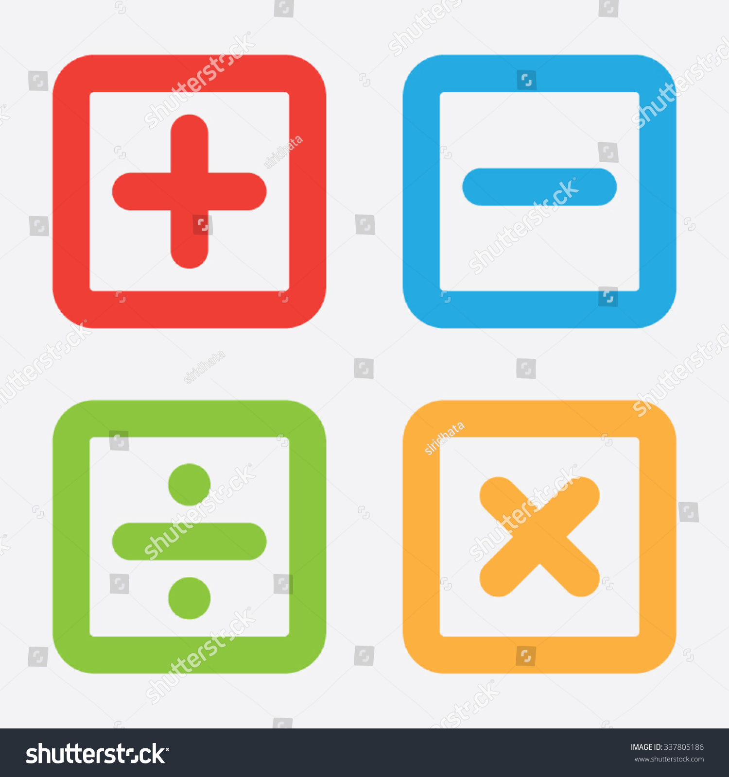 Add Subtract Divide Multiply Symbols Stock Vector