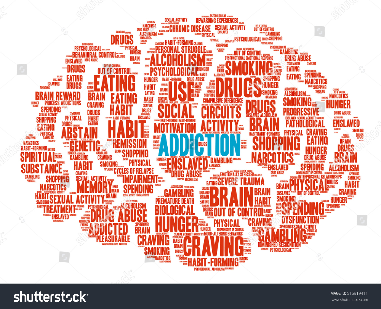 Addiction Brain Word Cloud On White Stock Vector