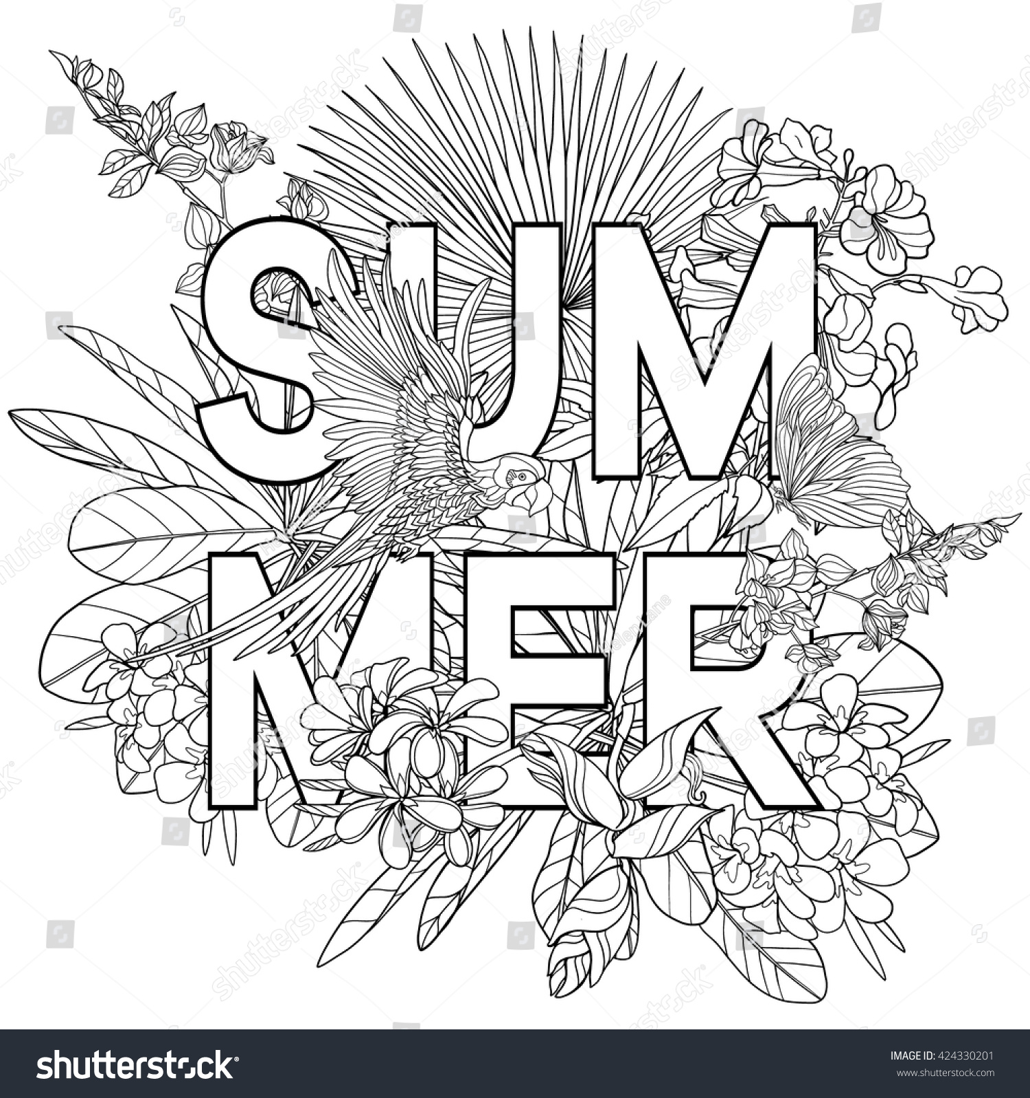Adult Coloring Book Coloring Page Word Lager Vektor