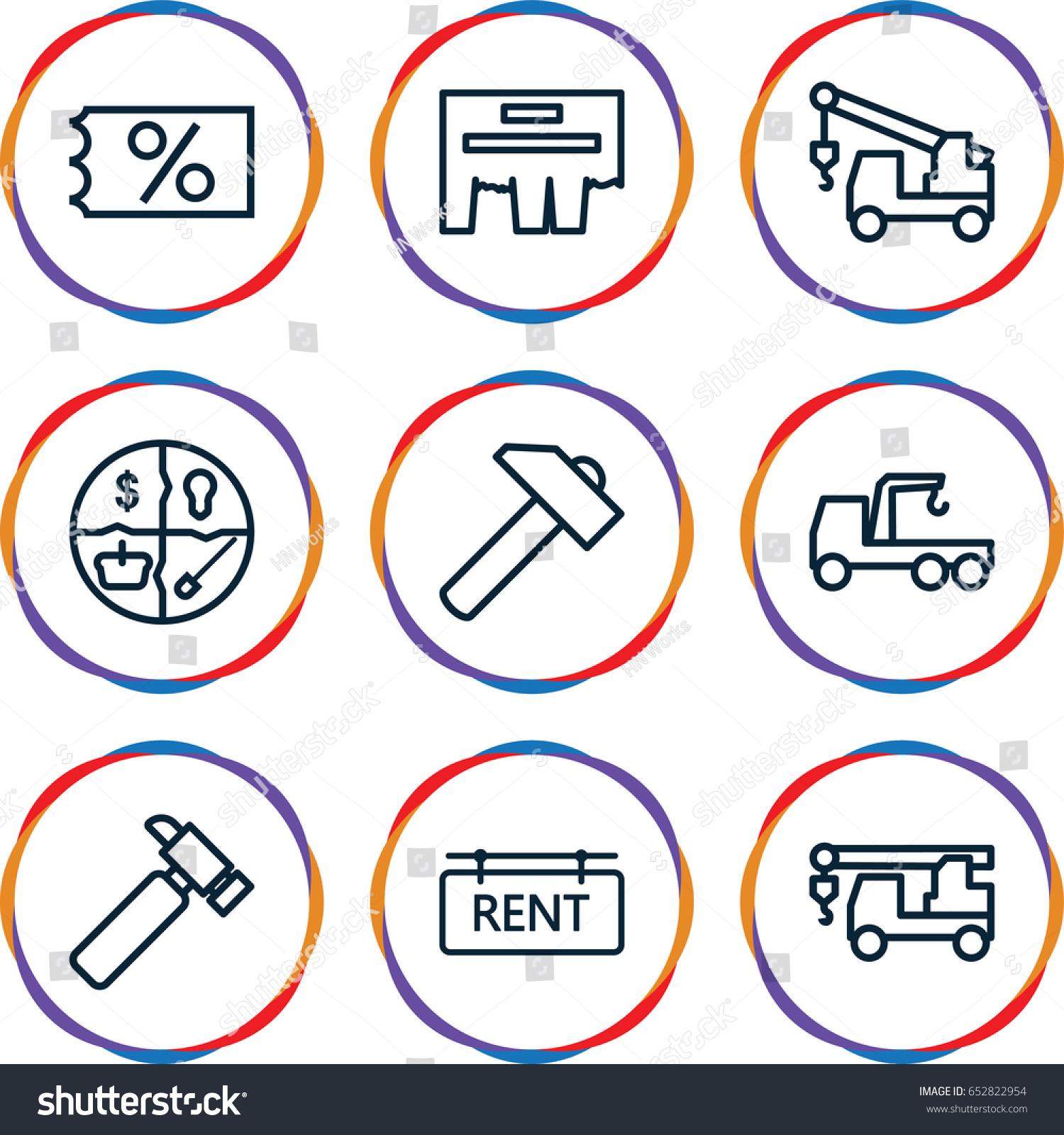 Advertising Icons Set Set 9 Advertising Stock Vector