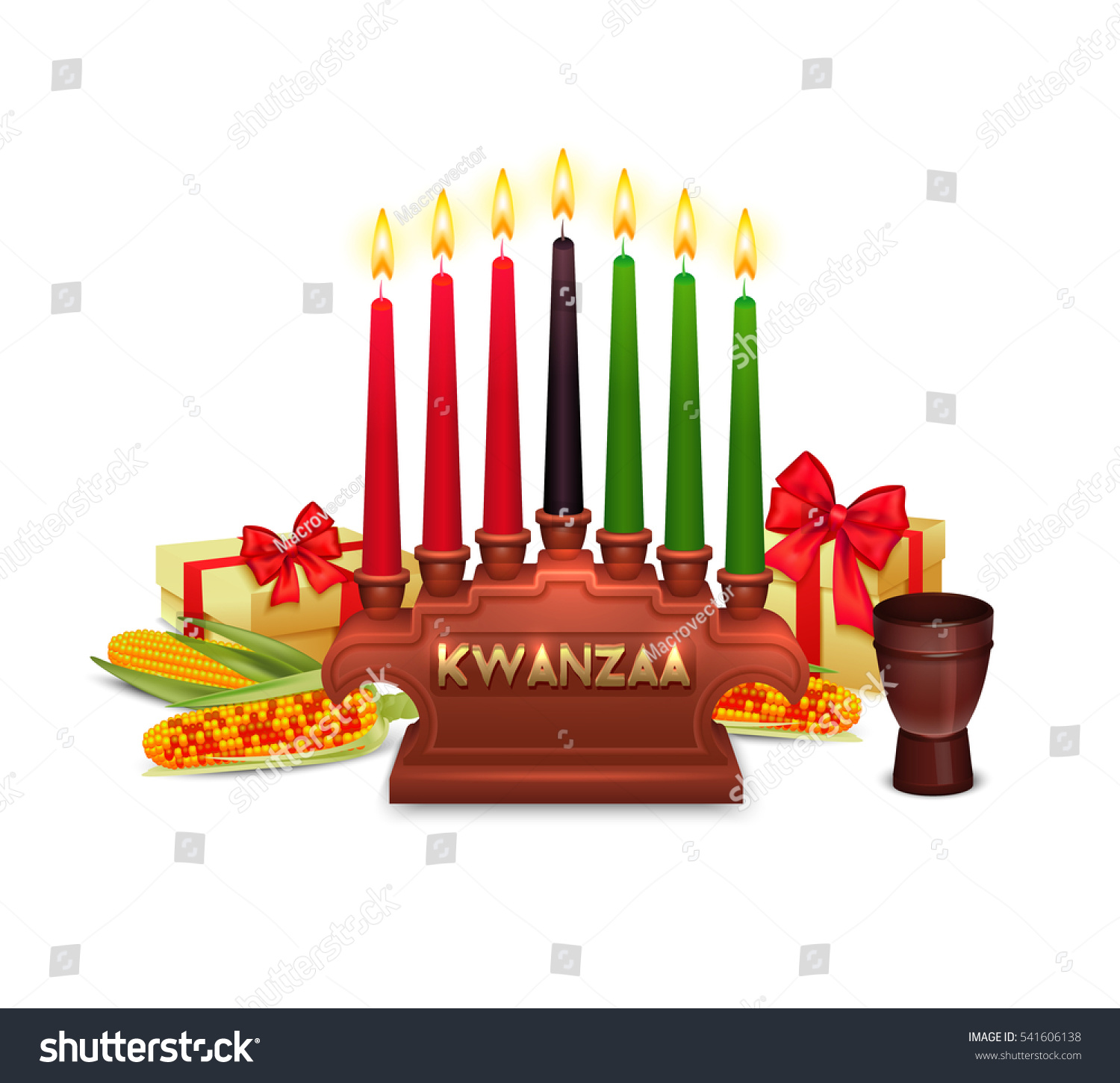 African Americans Kwanzaa Holiday Symbols Composition