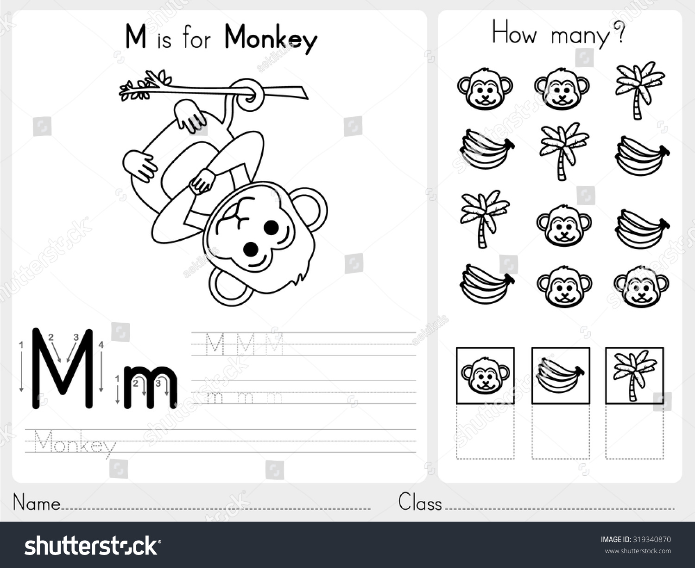 Alphabet Az Tracing Puzzle Worksheet Exercises Stock