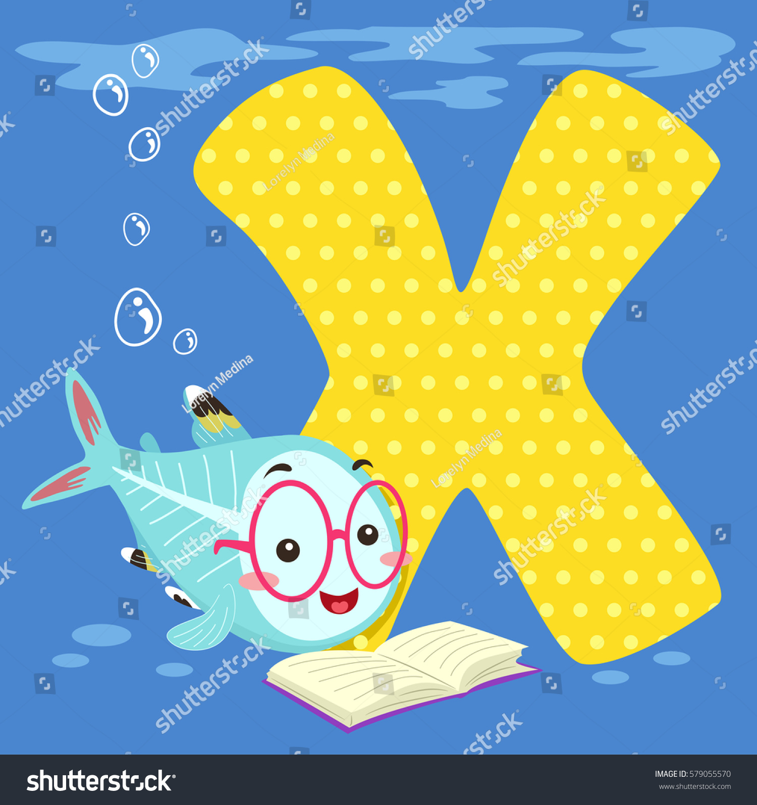 Alphabet Illustration Featuring Xray Fish Reading Stock