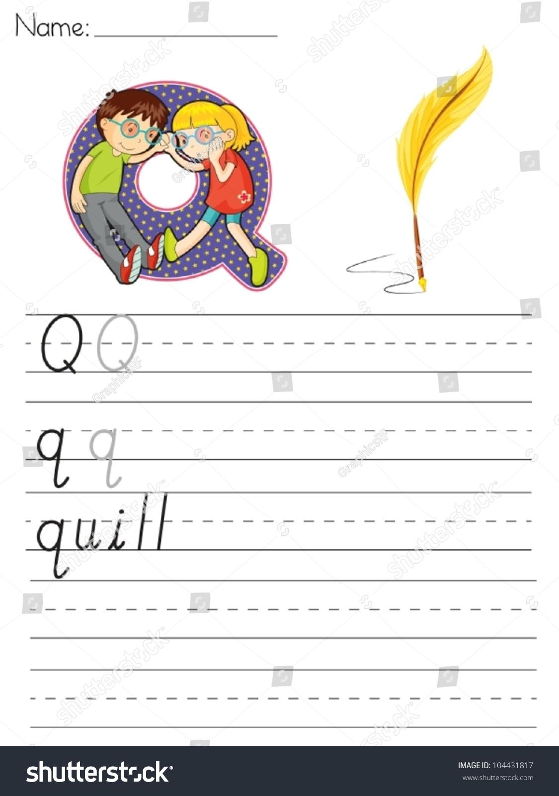 Alphabet Worksheet Of The Letter Q Stock Vector Illustration Shutterstock