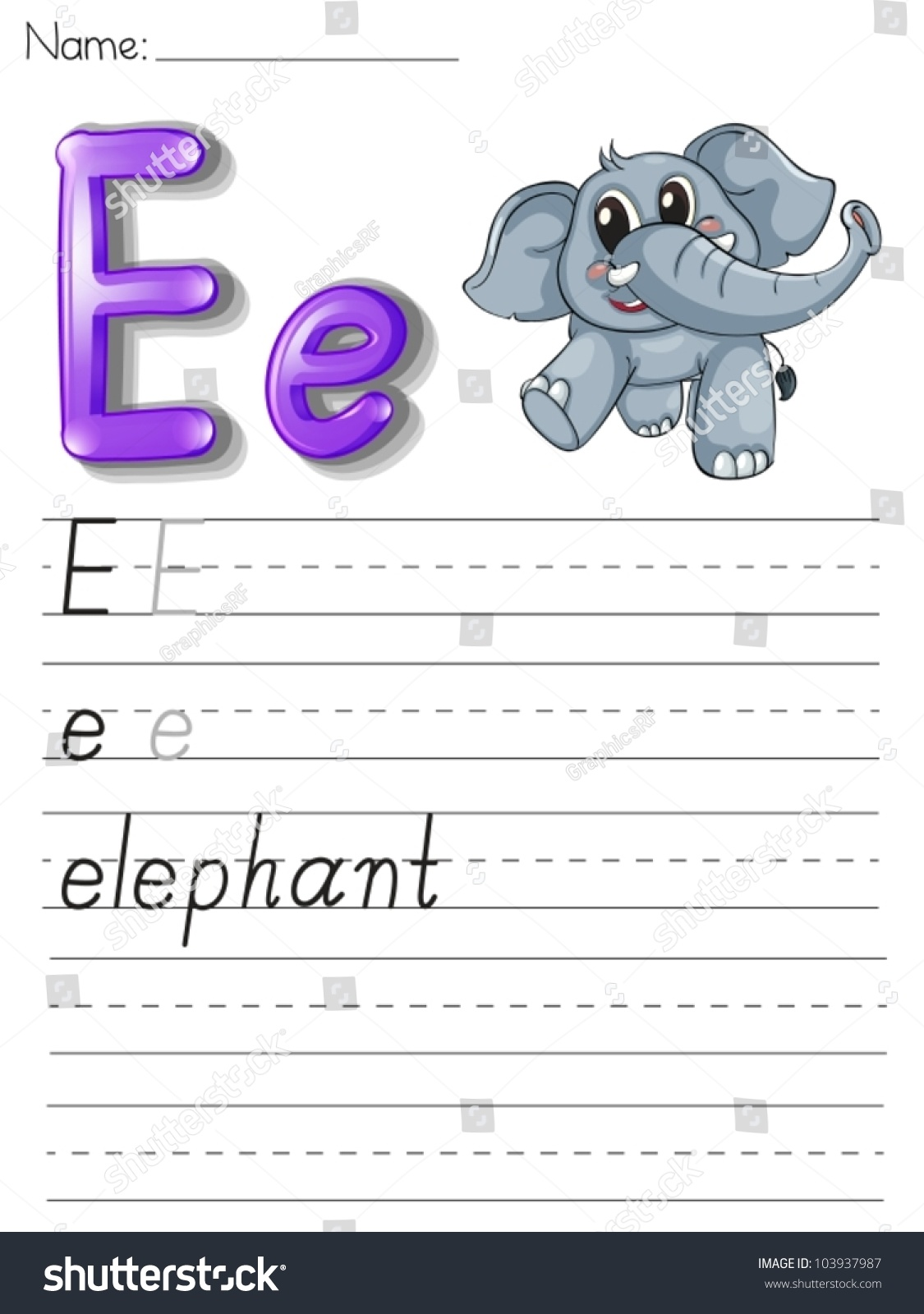 Alphabet Worksheet On White Paper Stock Vector