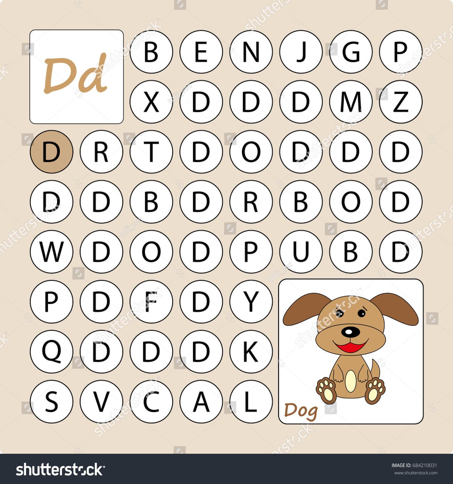 Alphabetical Labyrinth Learning Letter D Task Stock Vector