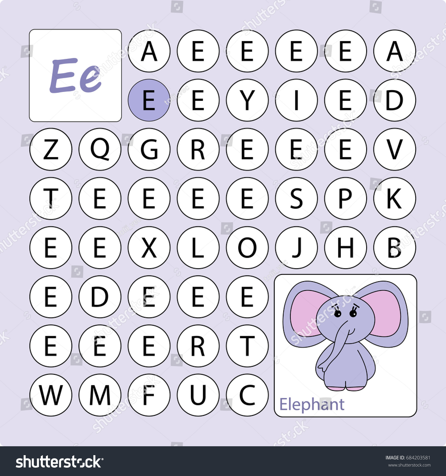 Alphabetical Puzzle Labyrinth Learning Letter E Stock