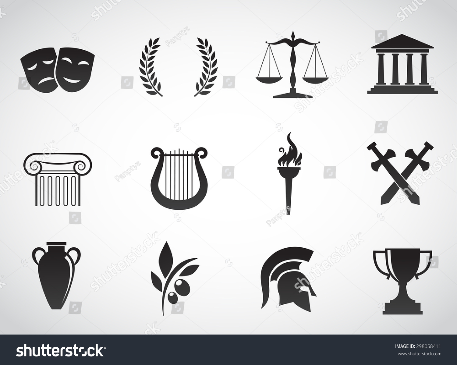 Ancient Greek Civilization Art And Culture Vector Icon
