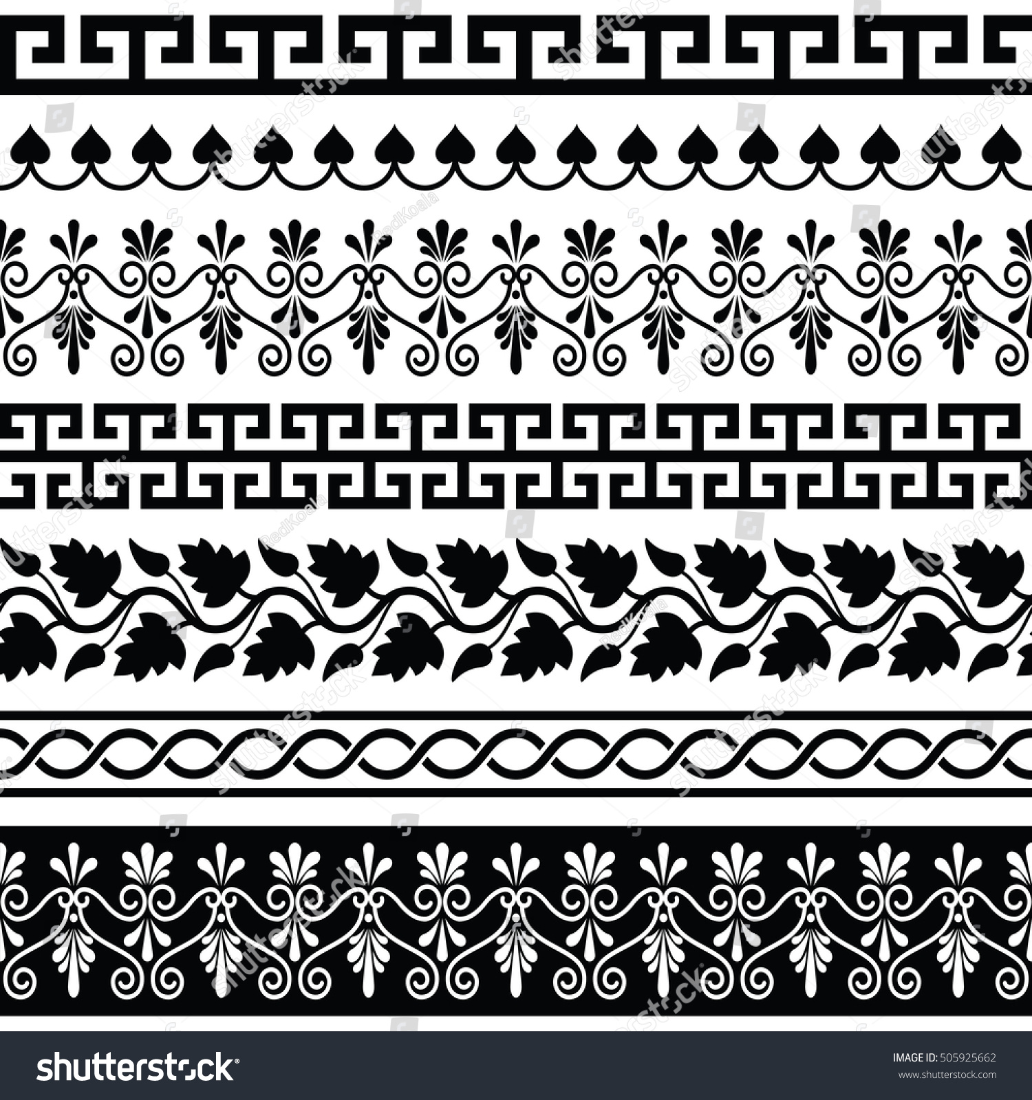 Ancient Greek Pattern Seamless Set Antique Stock Vector