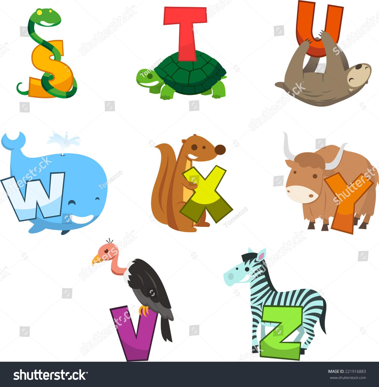 Animal Alphabet Letter Snake Turtle Bear Stock Vector