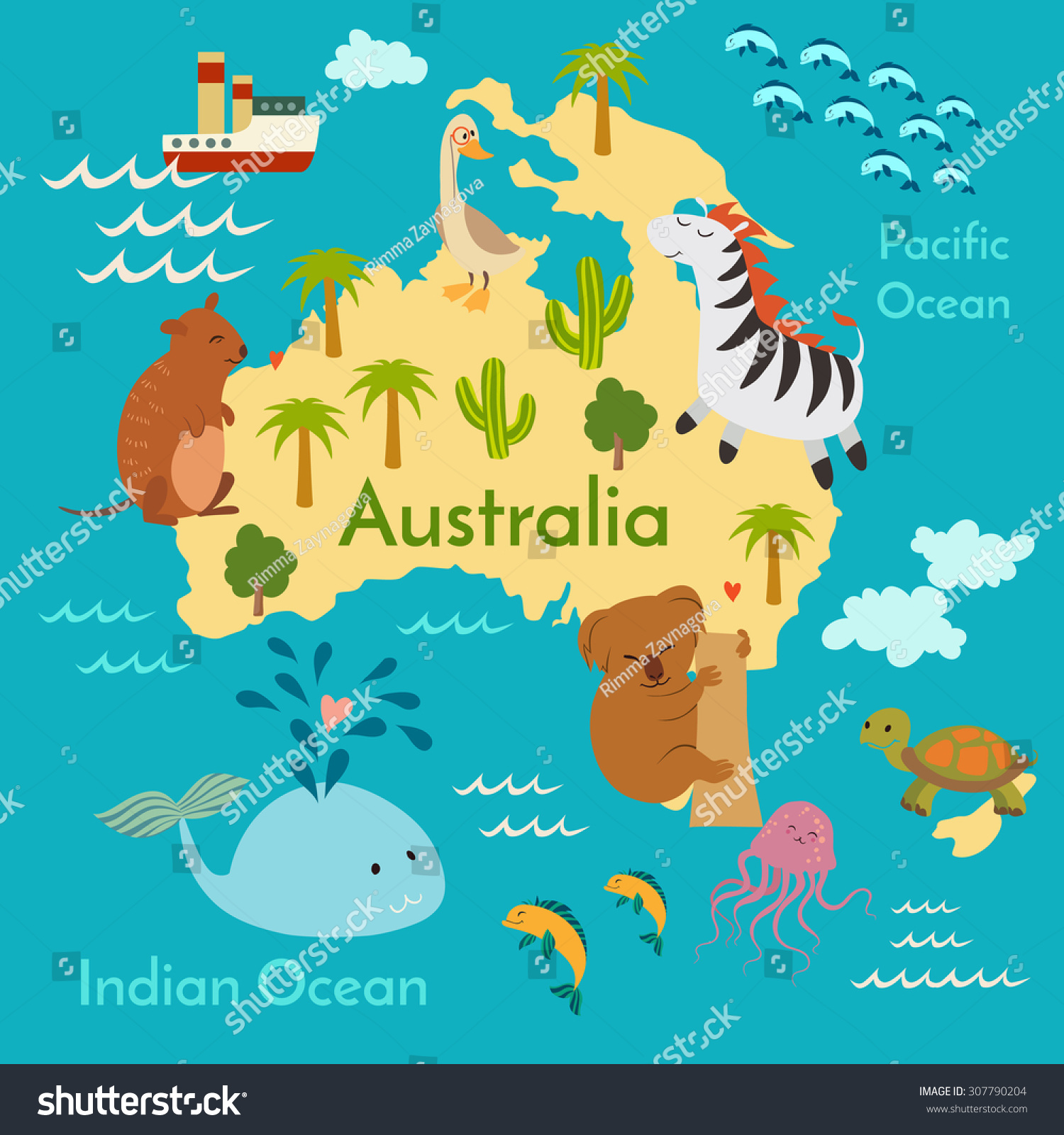Animals World Map Australia Vector Illustration Stock
