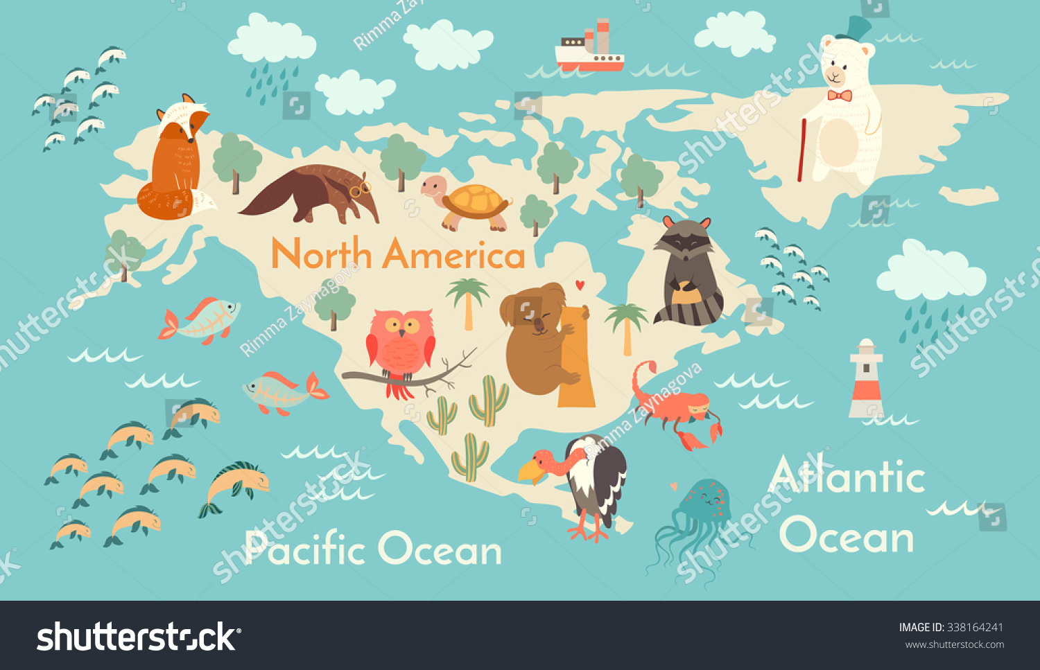 Animals World Map North America North Stock Vector