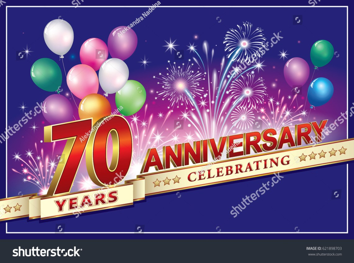 Download Anniversary Card 70 Years Old Fireworks Stock Vector ...