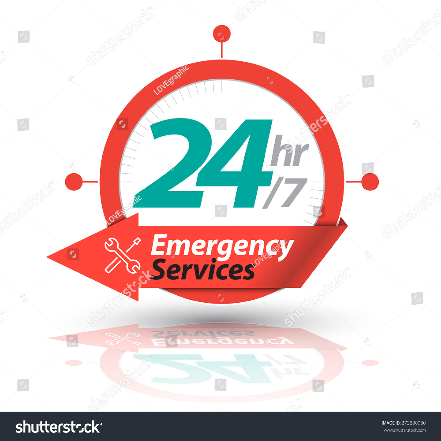 Arrow Circle Service 24h Icon Badge Stock Vector