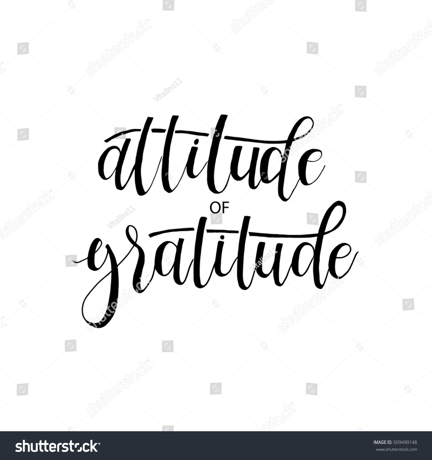 Attitude Of Gratitude Card Hand Drawn Lettering Ink