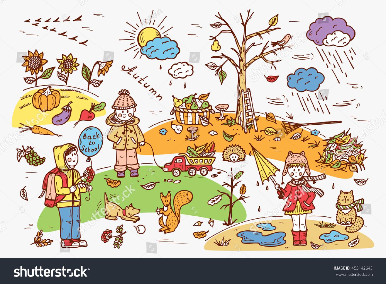 Autumn Season Children Walk On Outdoors Stock Vector