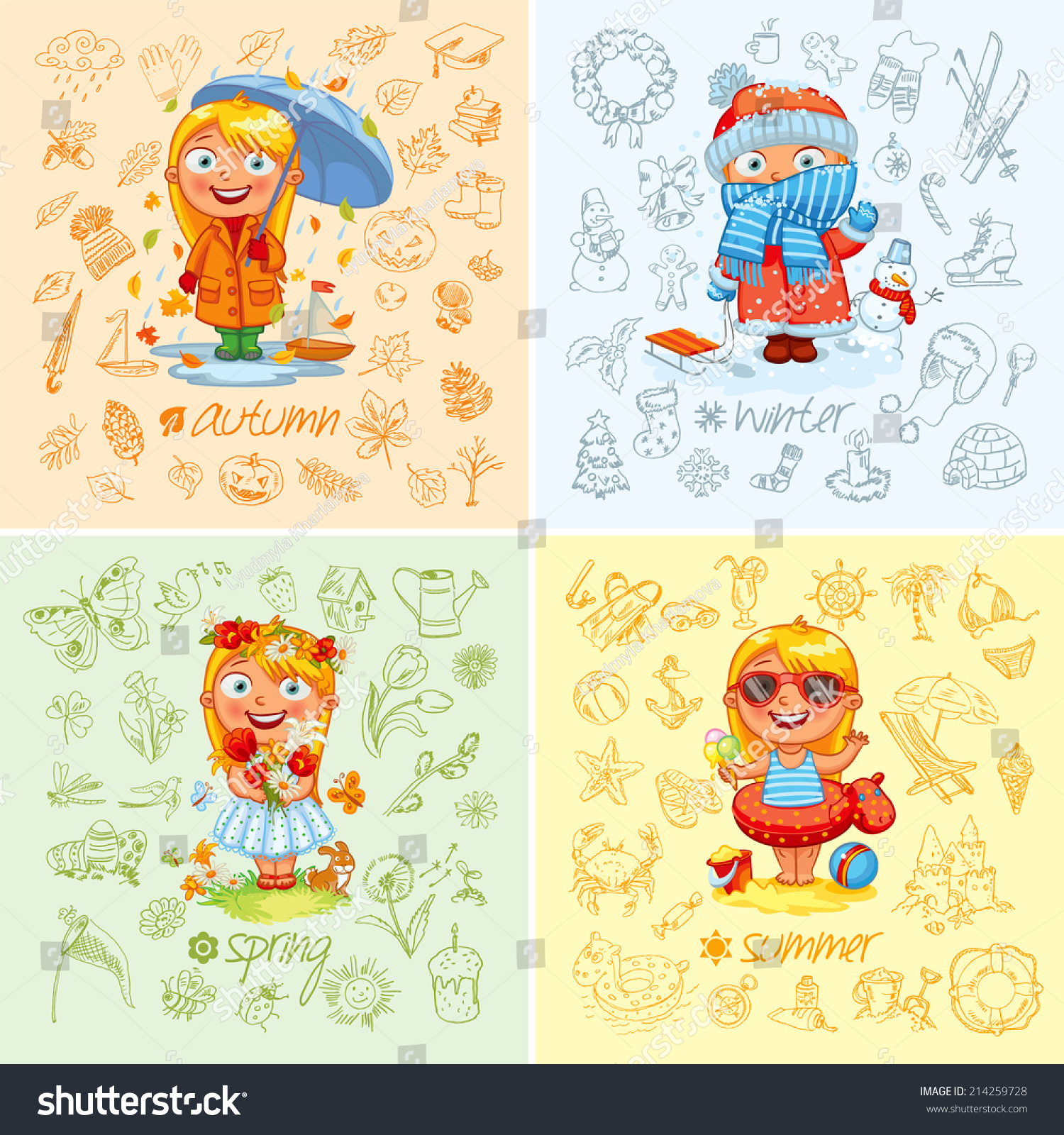 Baby Girl Four Seasons Freehand Drawing Stock Vector