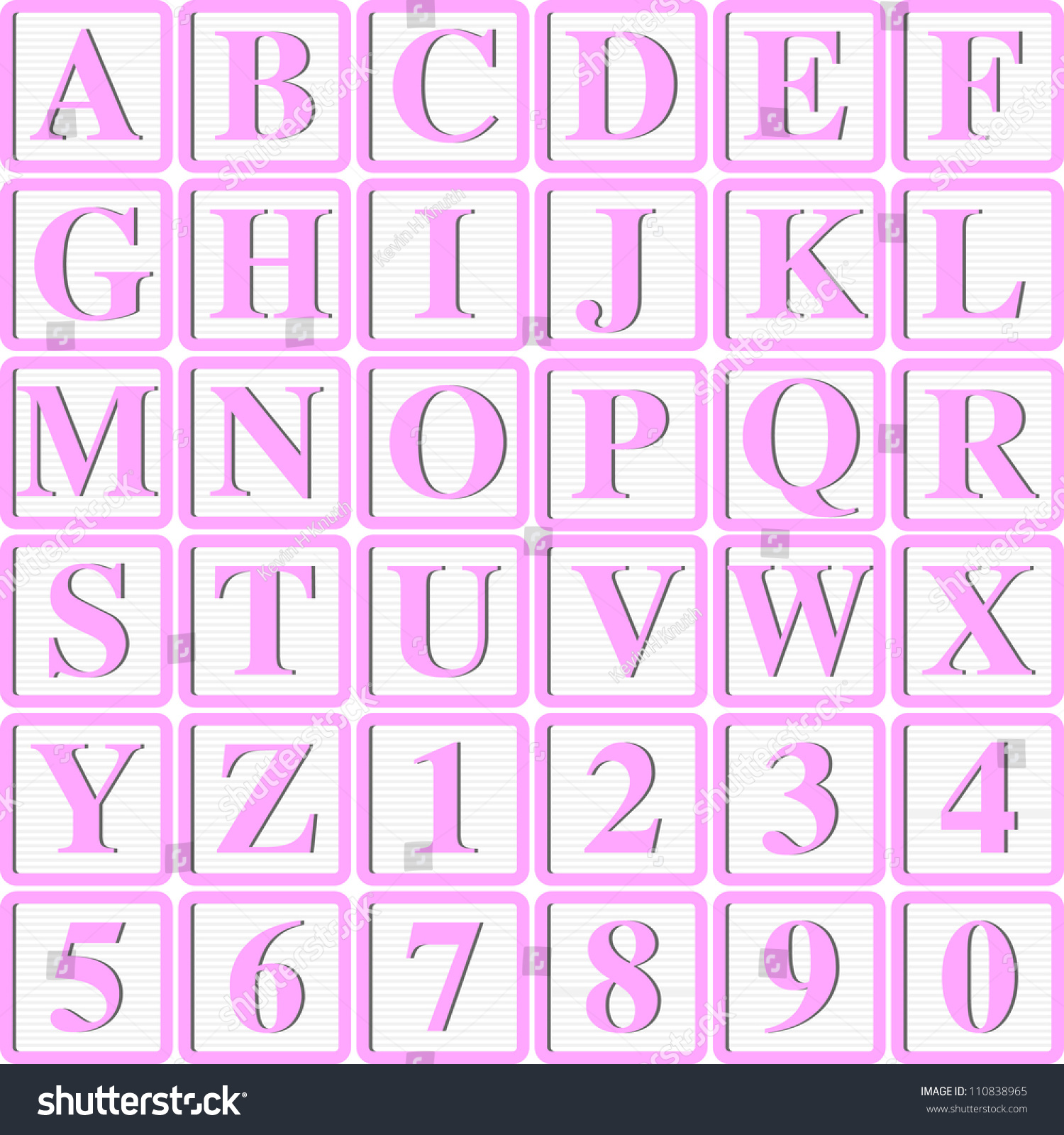 Baby Girl Pink Block Letters For Invitations Cards Or