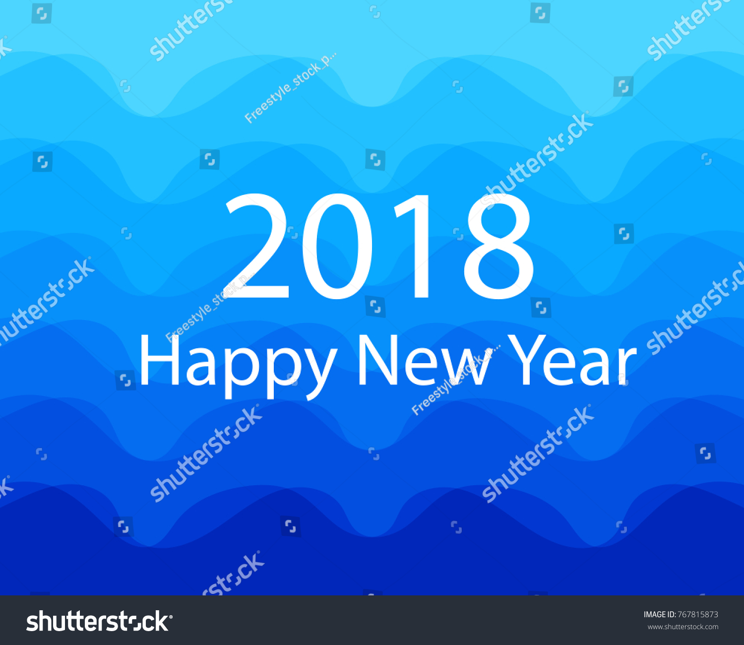 Background Blue Color Happy New Year Stock Vector  Royalty Free     Background blue color Happy New Year 2018 concept flat design