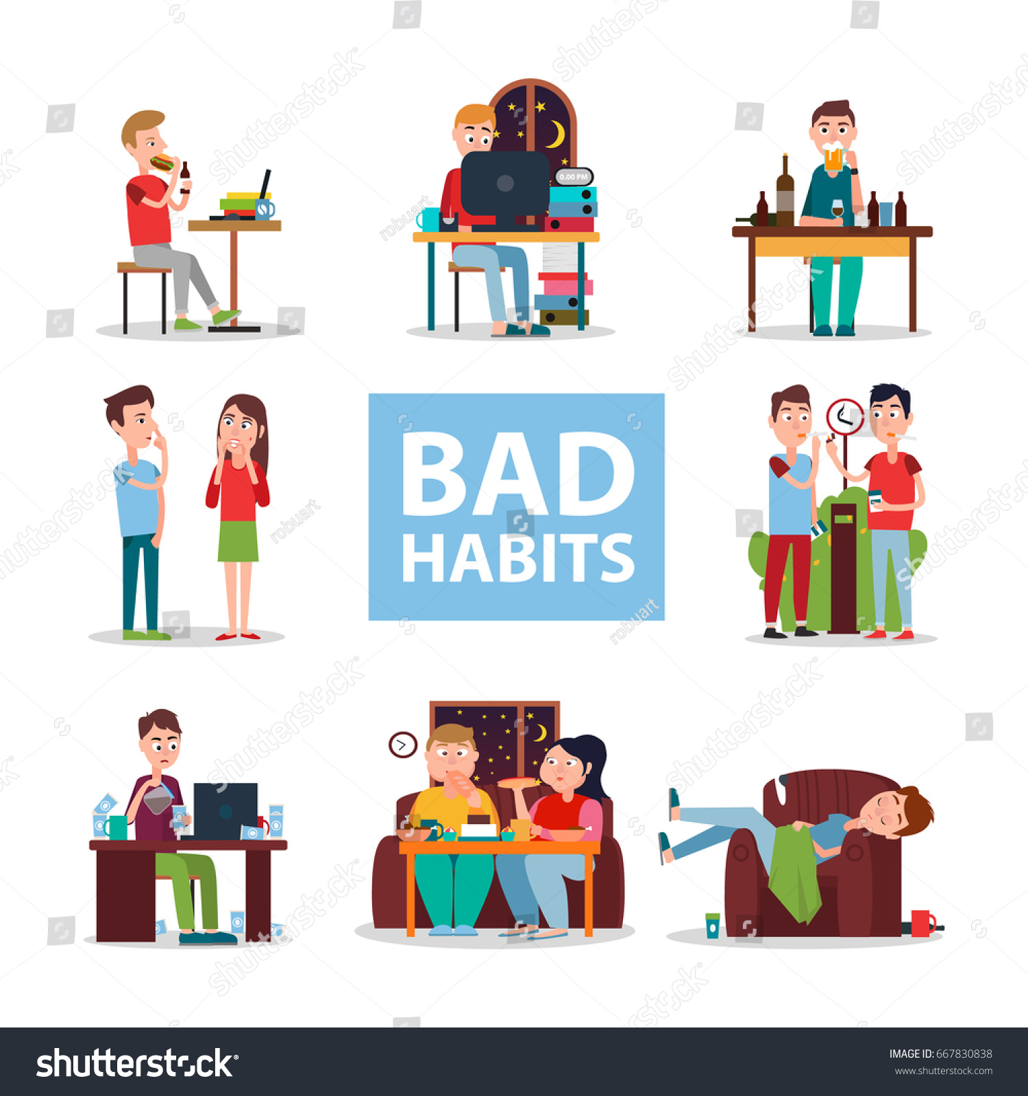 Bad Habits Poster Vector Illustration People Stock Vector