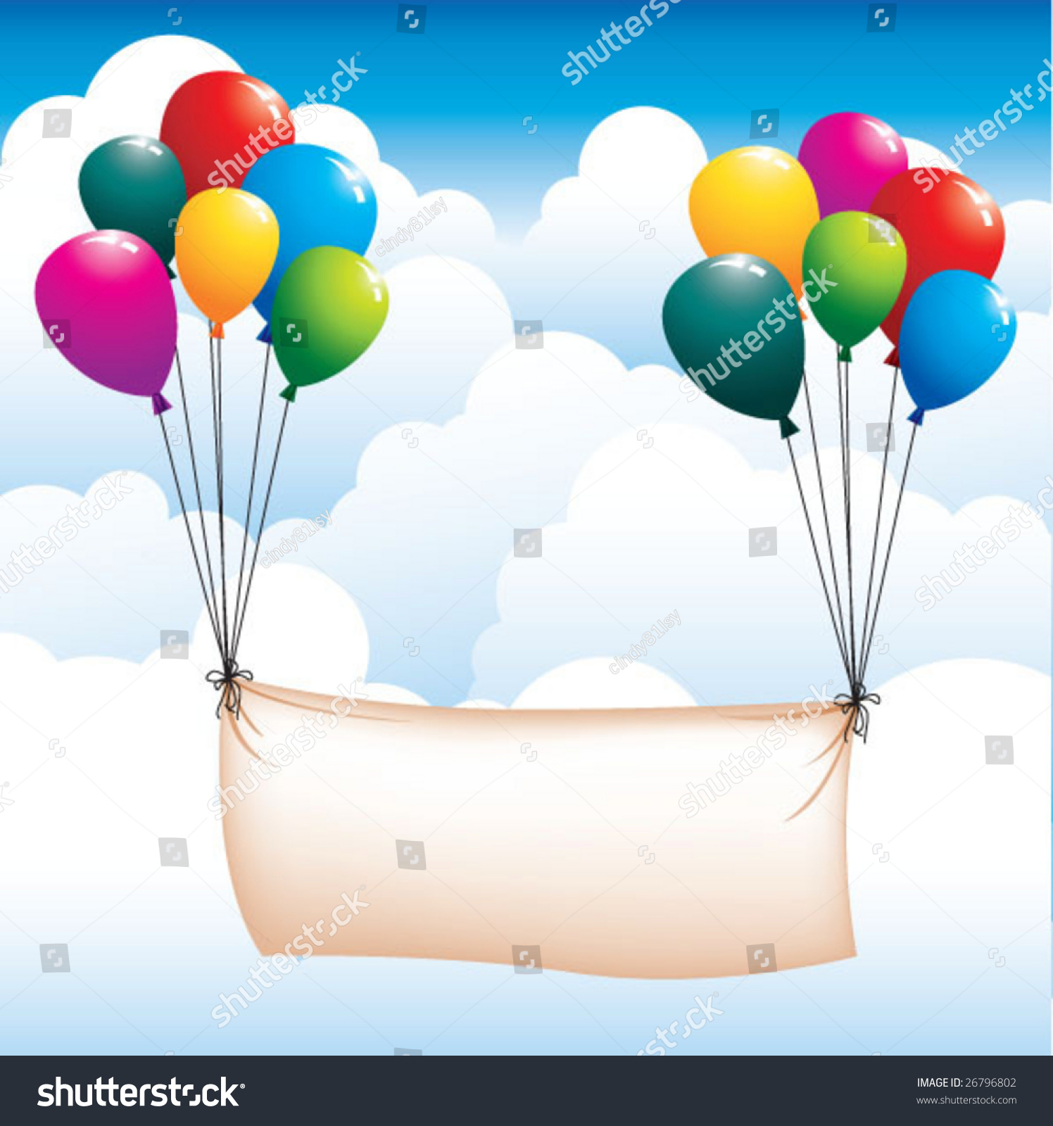 Balloons And Banner In The Sky Stock Vector