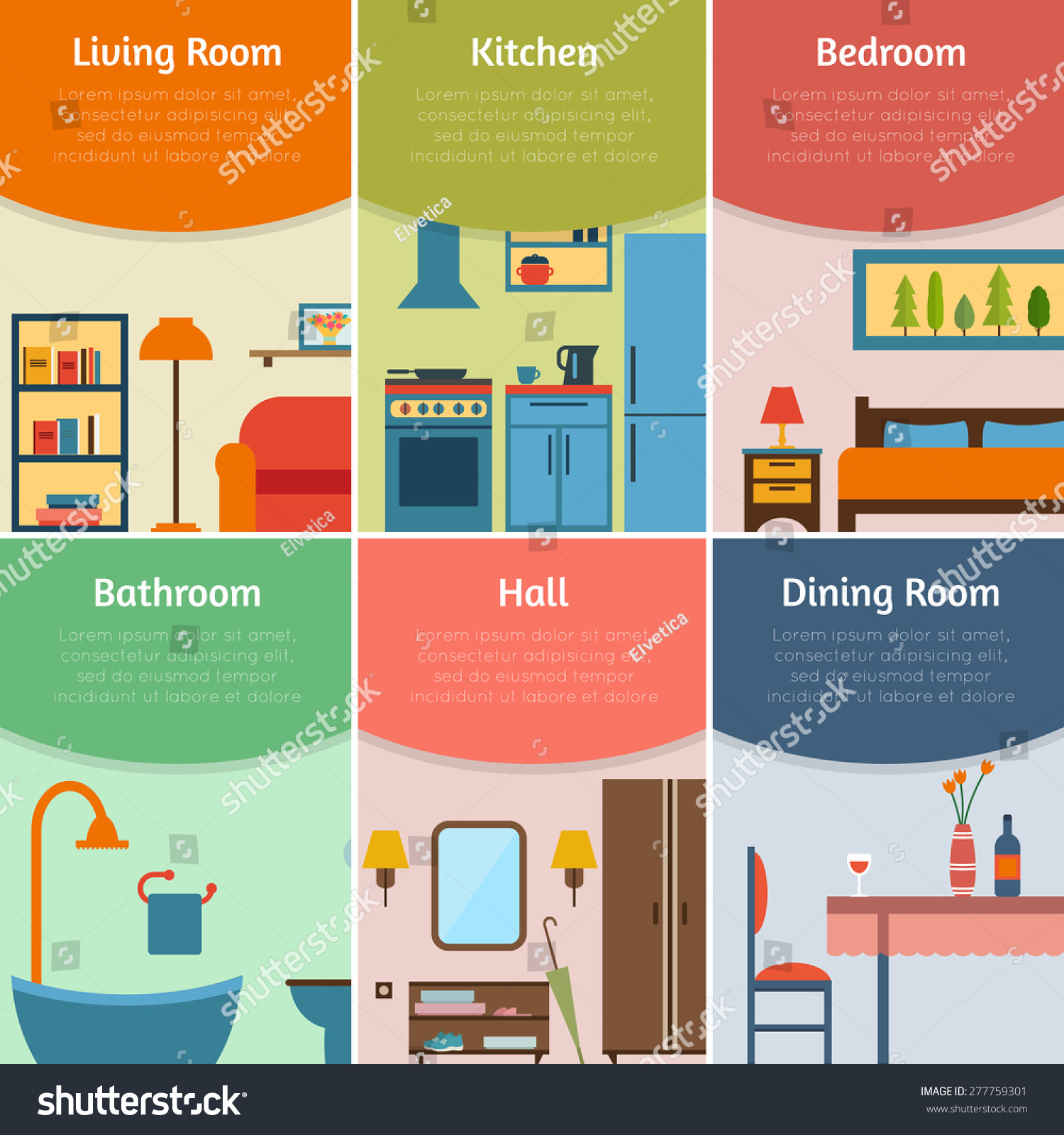 Banners Furniture Icons Rooms House Flat Stock Vector