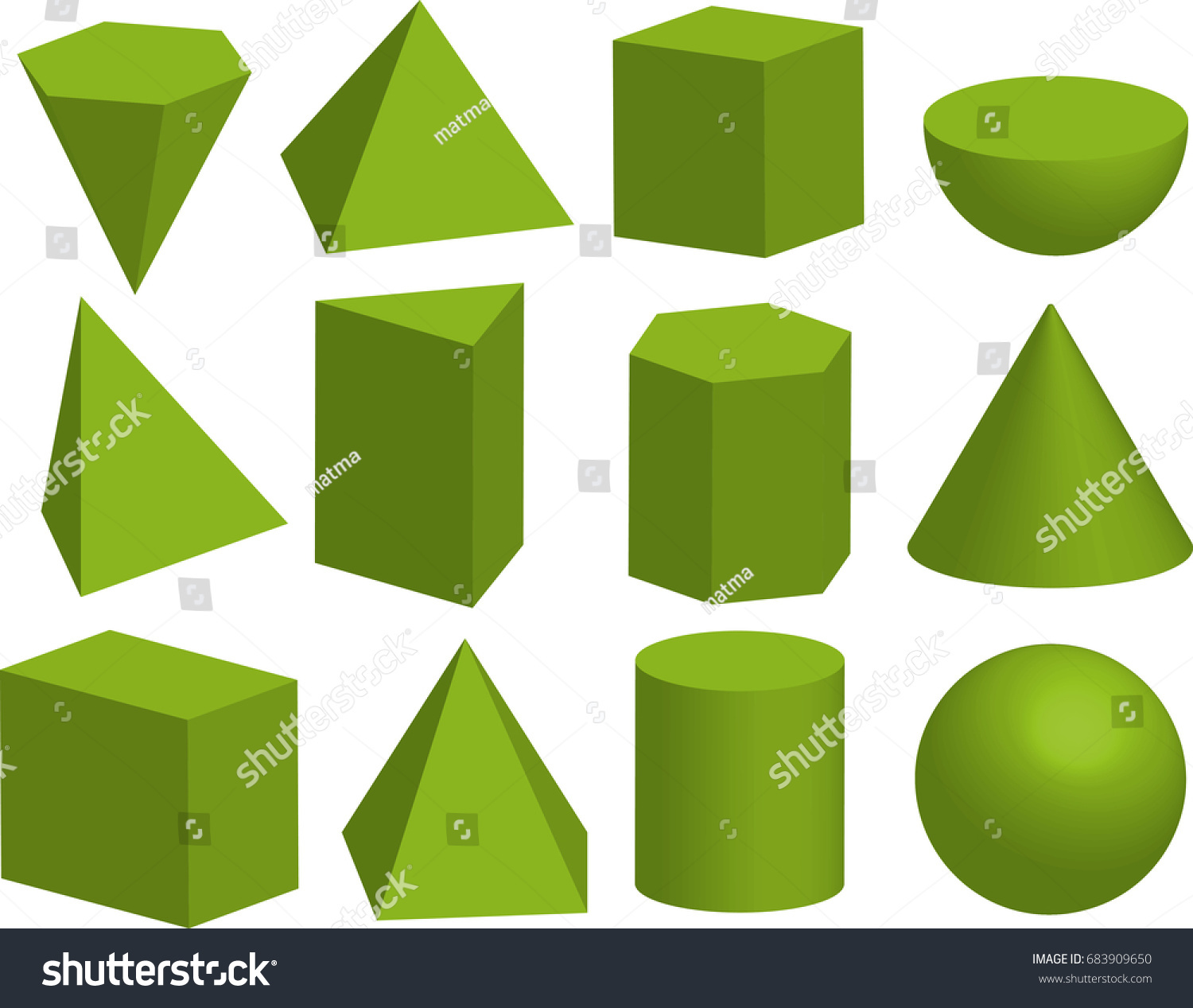 Basic 3d Geometric Shapes Geometric Solids Stock Vector