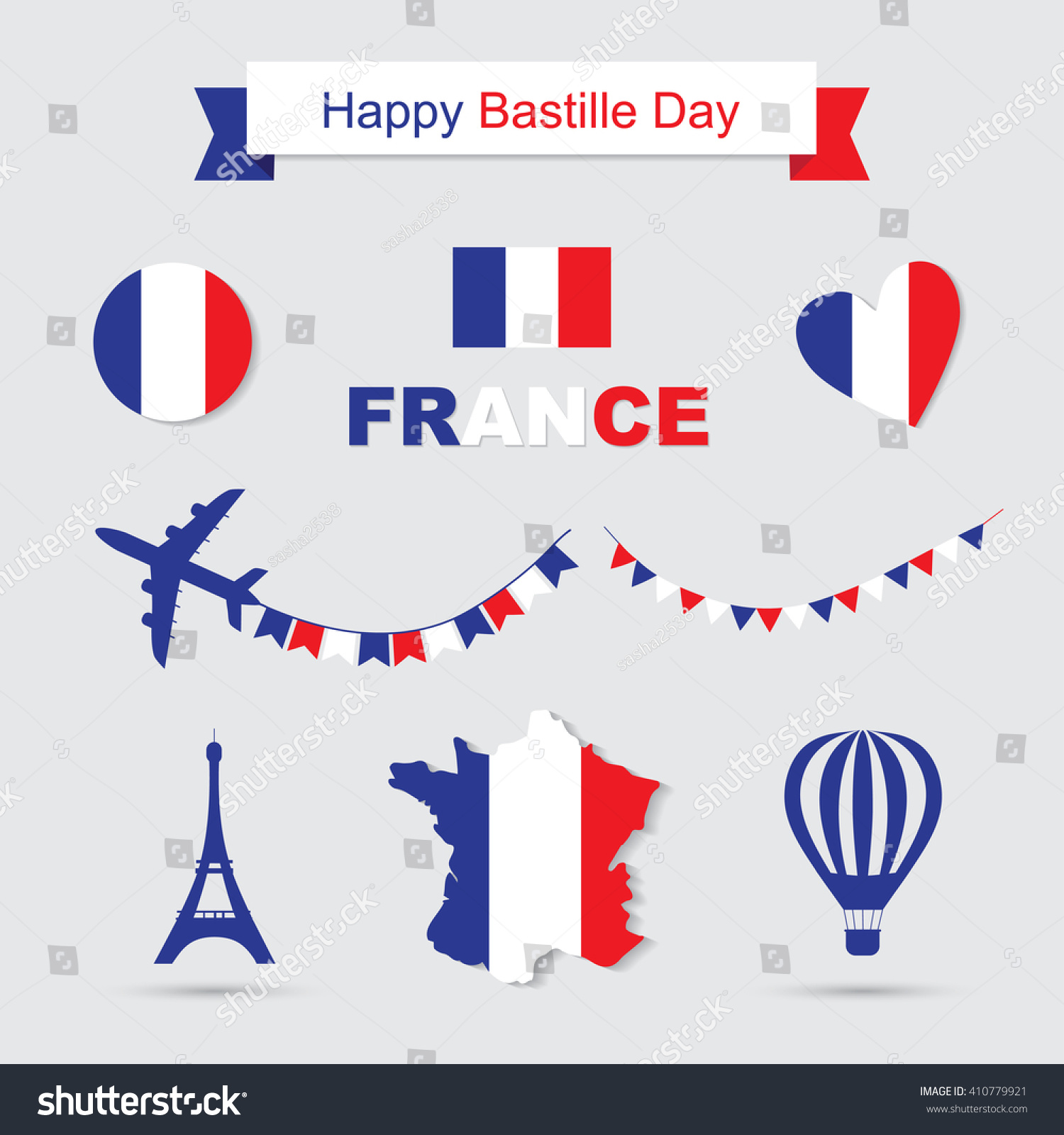 Bastille Day Independence Day France Symbols Stock Vector