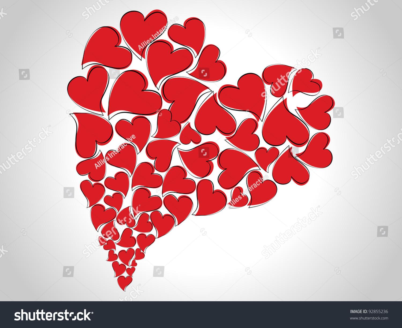 Beautiful Abstract Heart Shape Made Small Stock Vector